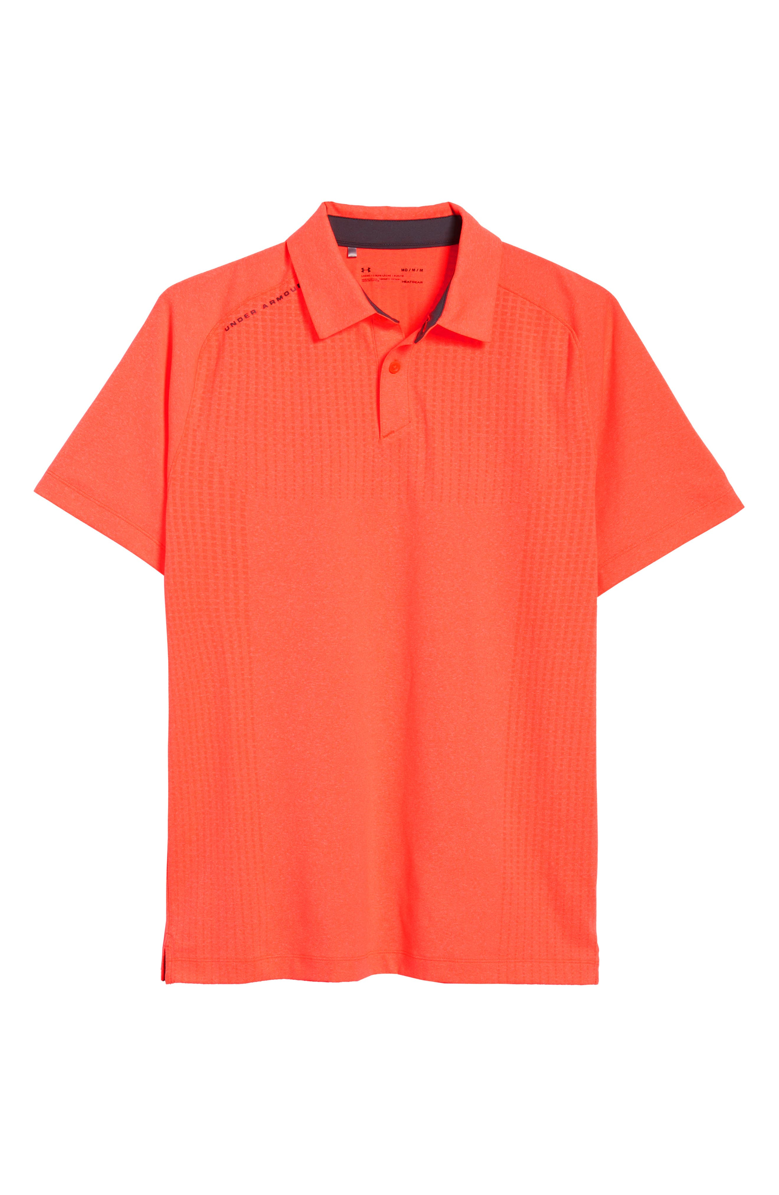 UNDER ARMOUR, Threadborne Outer Glow Regular Fit Polo Shirt, Alternate thumbnail 6, color, NEON CORAL LIGHT/ HEATHER
