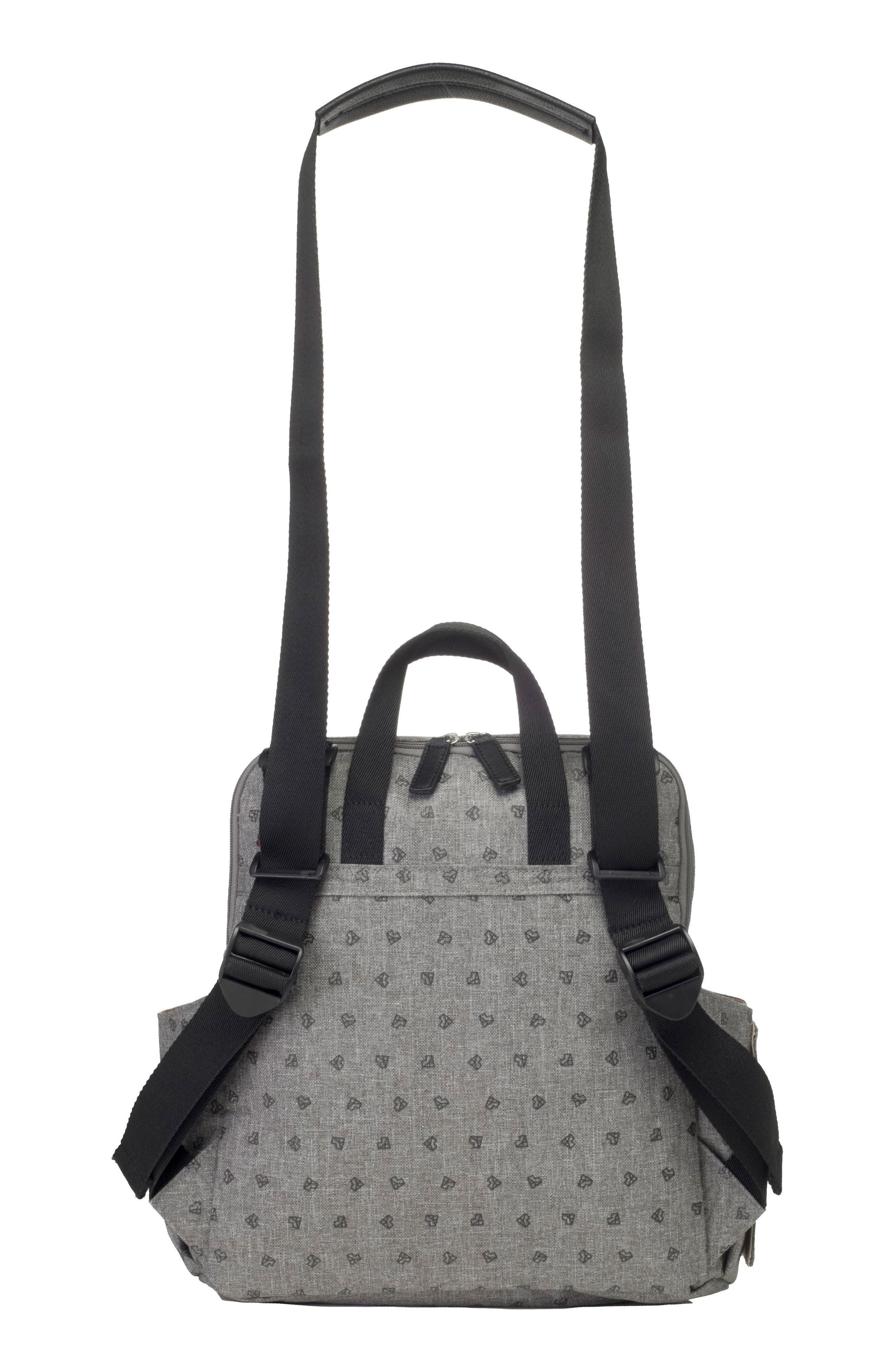 BABYMEL, Robyn Convertible Diaper Backpack, Alternate thumbnail 4, color, GREY ORIGAMI HEART