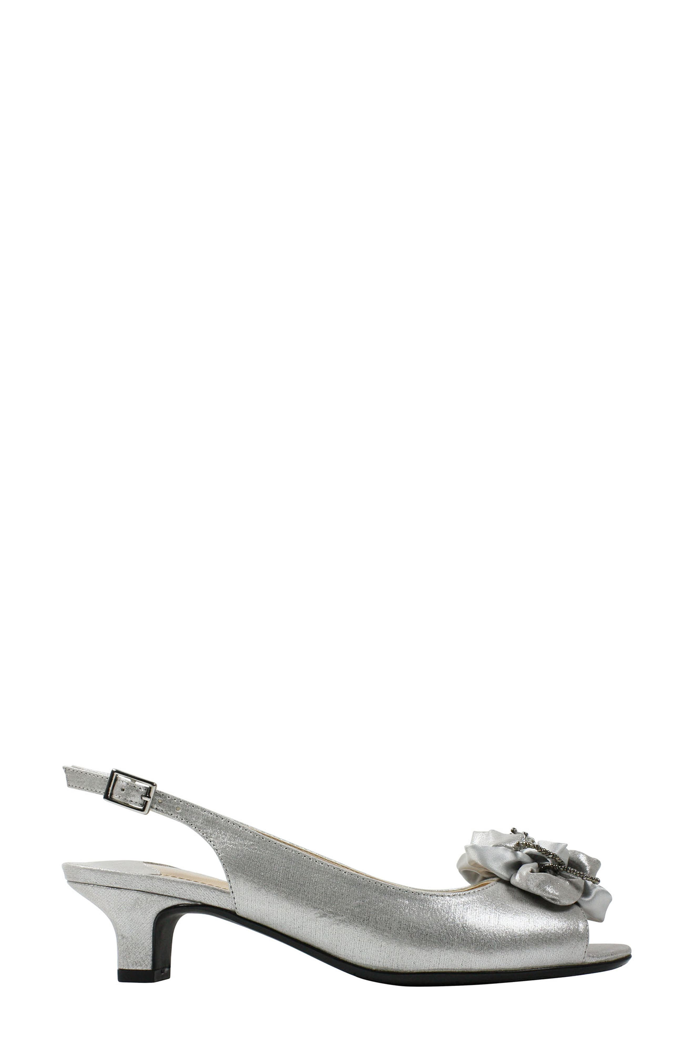J. RENEÉ, Leonelle Slingback Crystal Embellished Sandal, Alternate thumbnail 3, color, SILVER SATIN