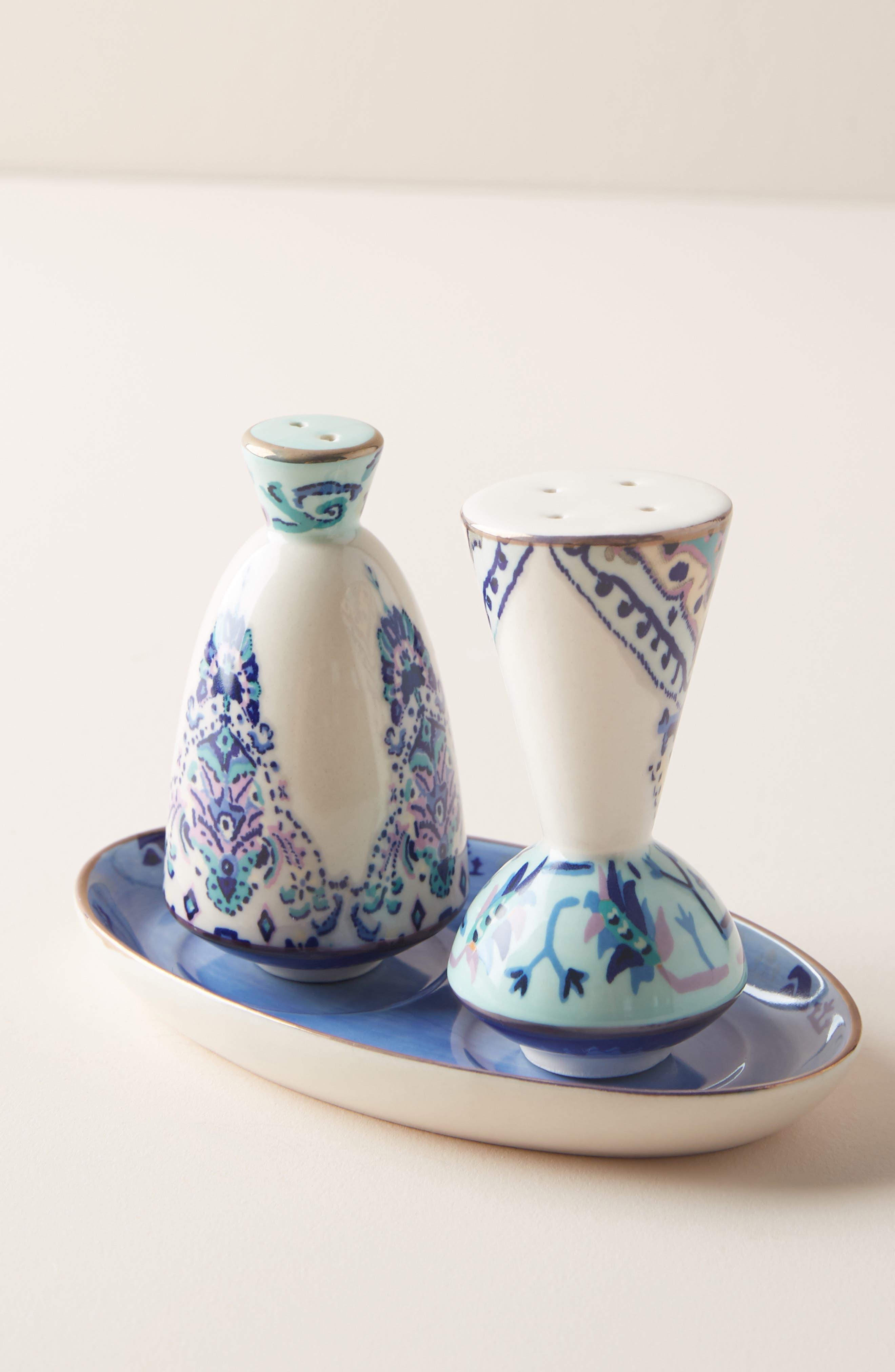 ANTHROPOLOGIE, Lilia Salt & Pepper Shakers, Main thumbnail 1, color, BLUE