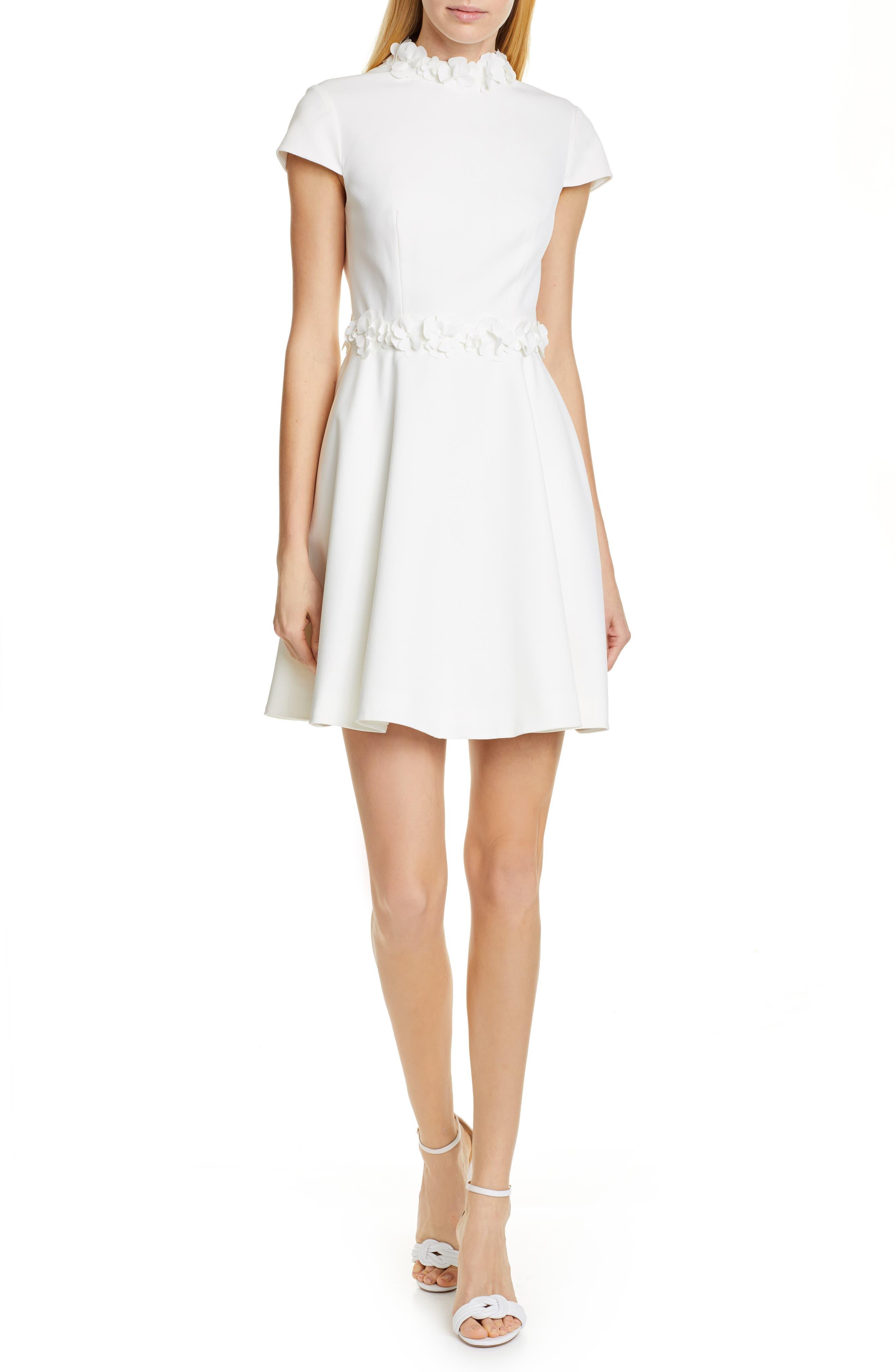Ted Baker London Elianah Floral Applique Skater Dress, White