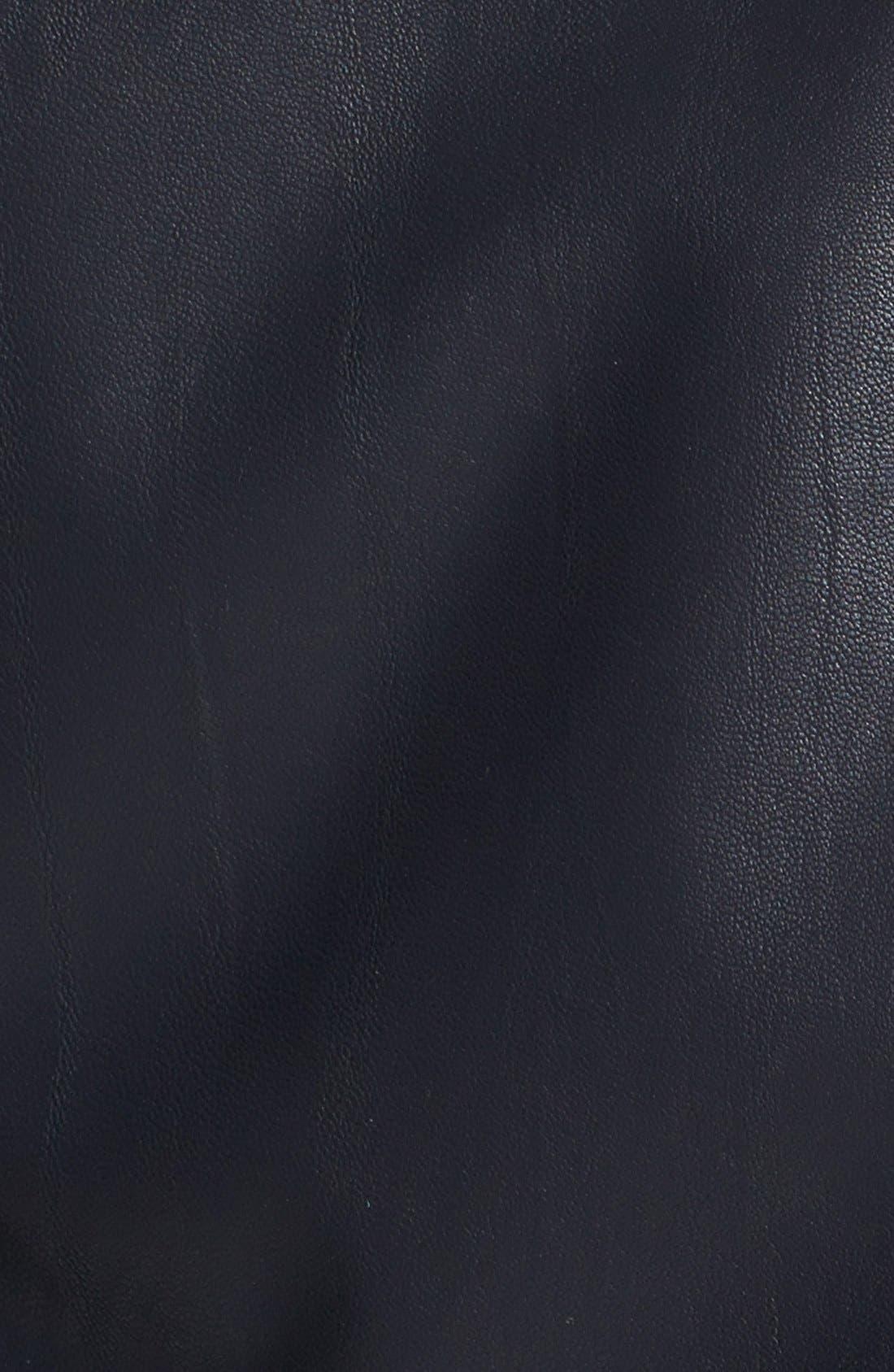 TOPSHOP, 'Wylde' Faux Leather Biker Jacket, Alternate thumbnail 3, color, 001