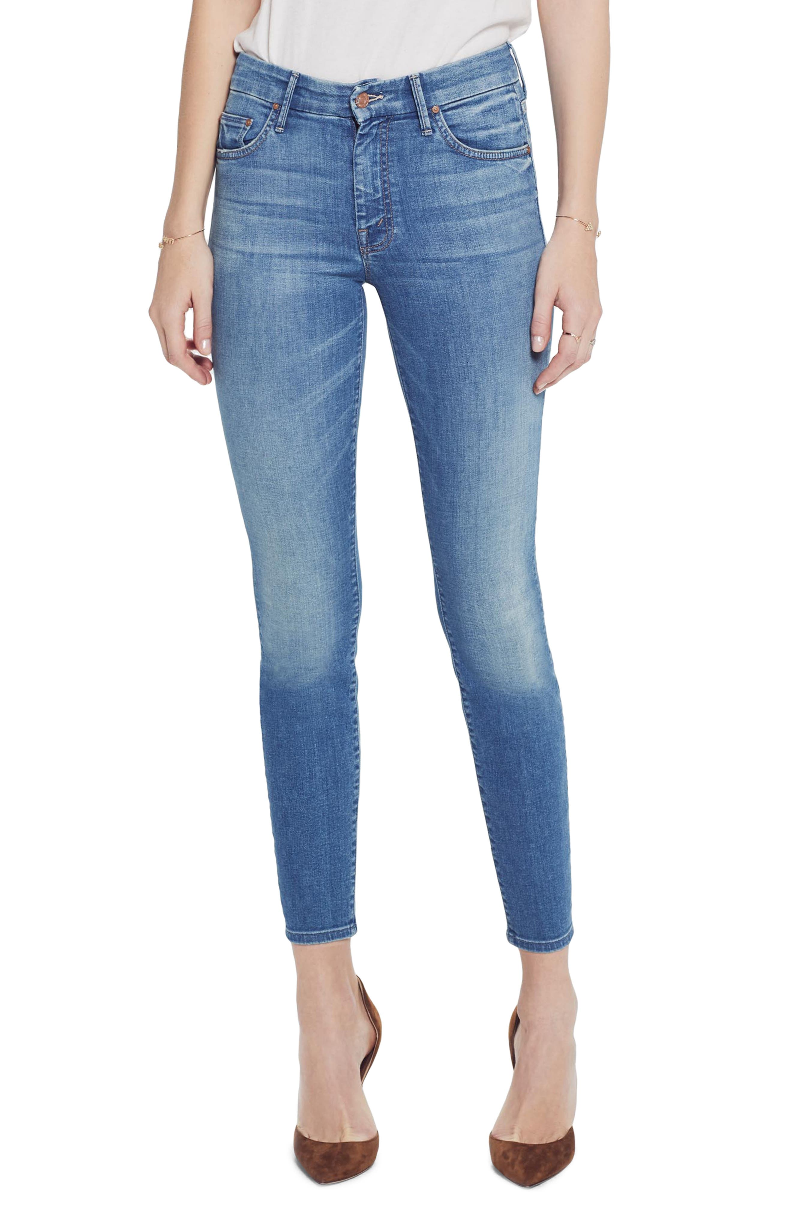 MOTHER The Looker Crop Skinny Jeans, Main, color, WISHFUL DRINKING
