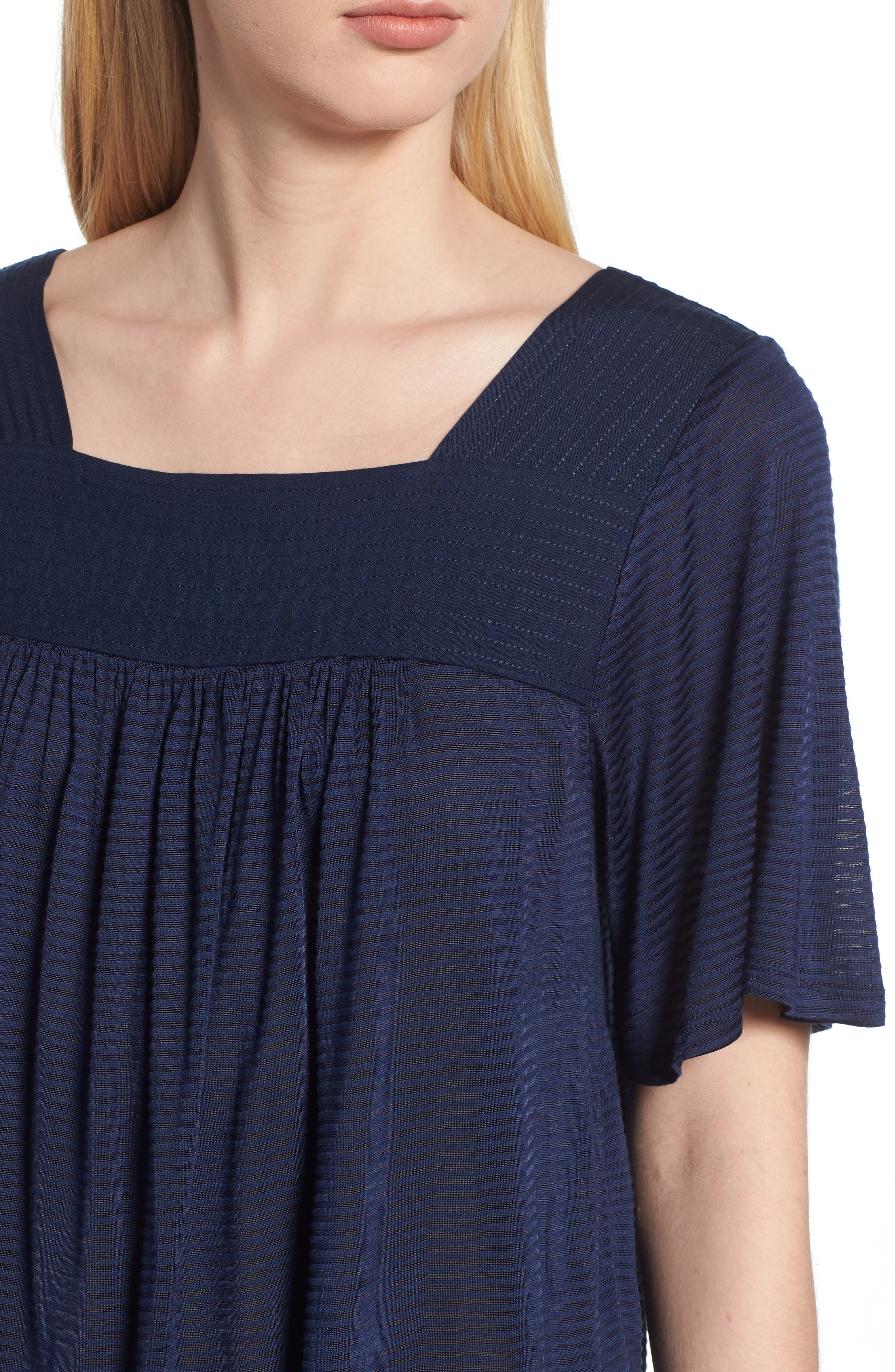 LUCKY BRAND, Shadow Stripe Peasant Top, Alternate thumbnail 4, color, AMERICAN NAVY