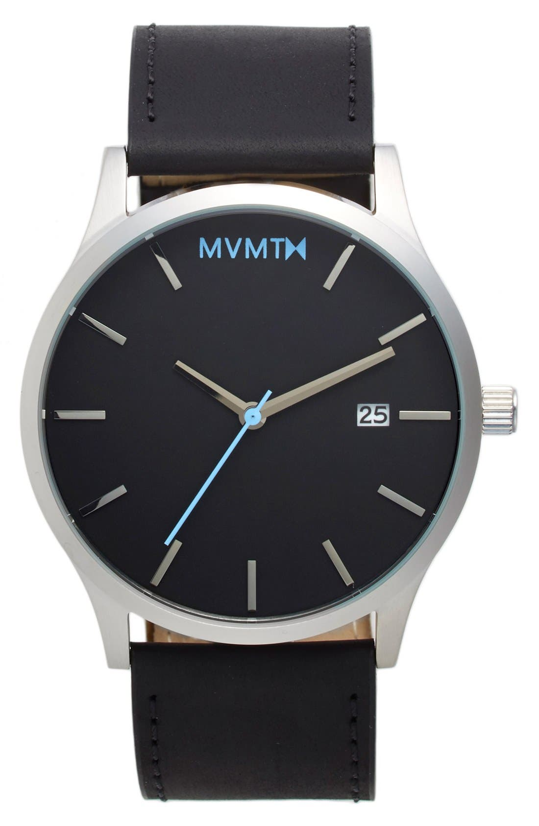 MVMT Leather Strap Watch, 45mm, Main, color, SILVER/ BLACK