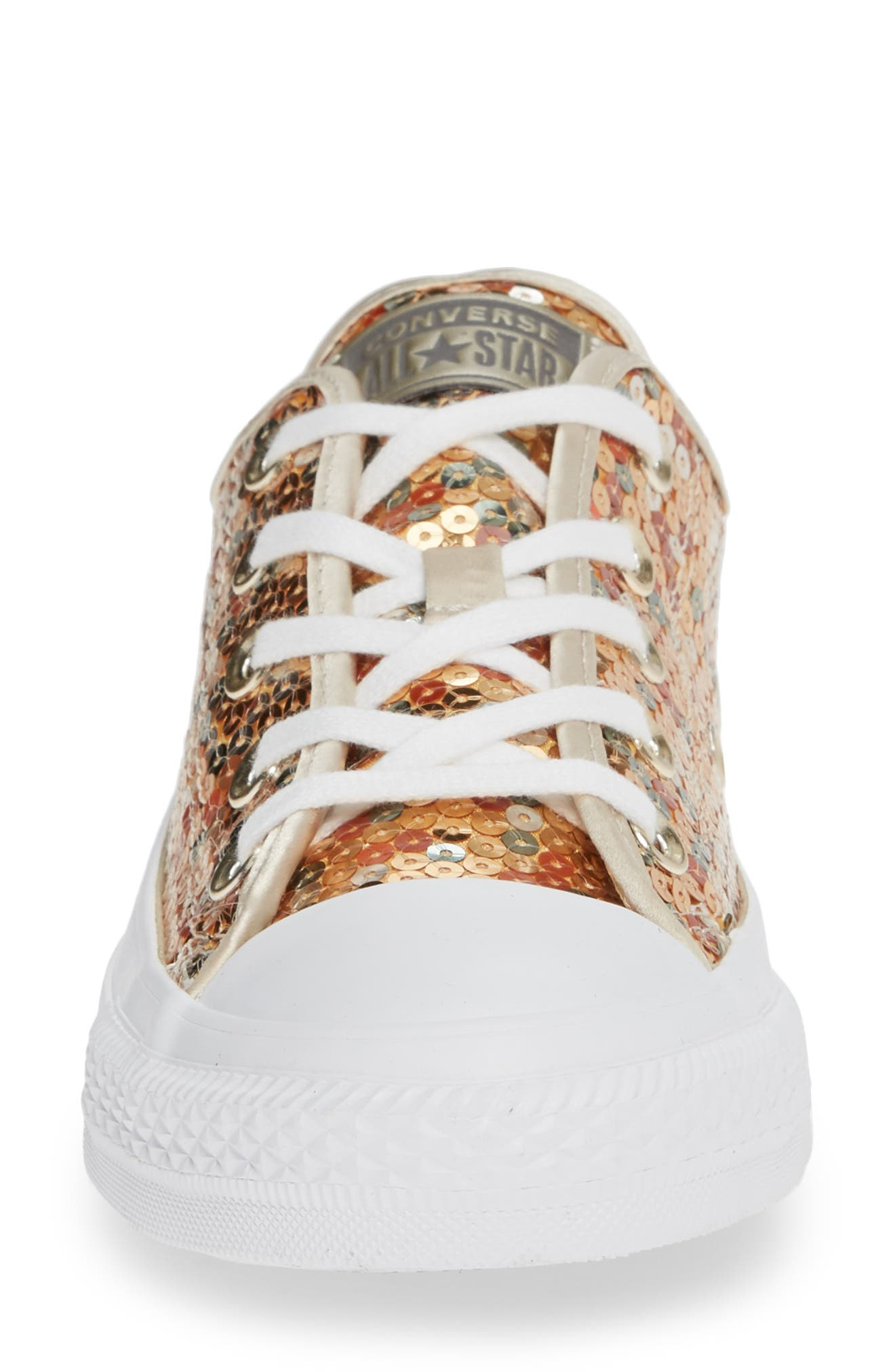 CONVERSE, Chuck Taylor<sup>®</sup> All Star<sup>®</sup> Sequin Low Top Sneaker, Alternate thumbnail 4, color, GOLD SEQUINS