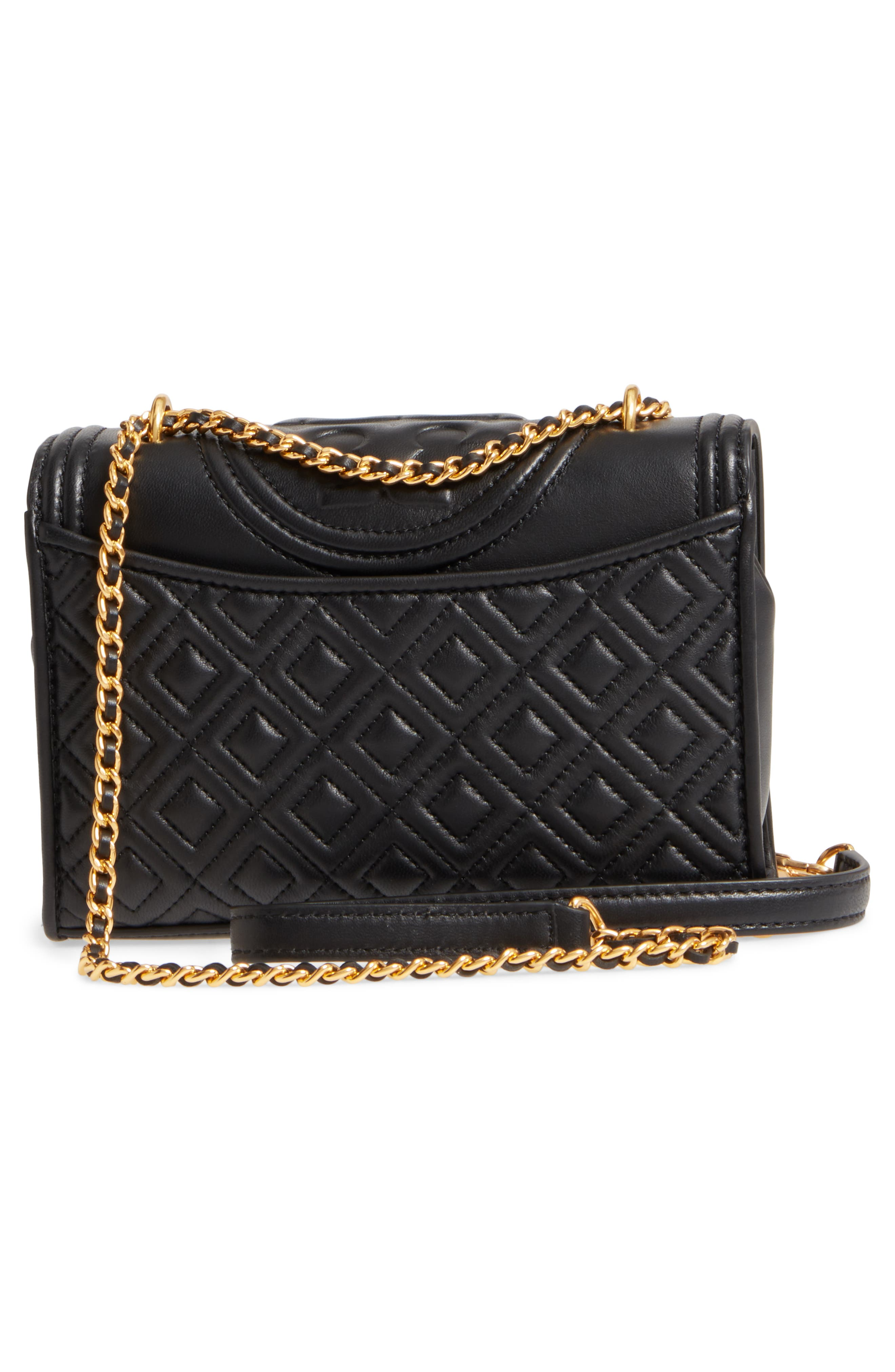 TORY BURCH, Small Fleming Leather Convertible Shoulder Bag, Alternate thumbnail 4, color, BLACK