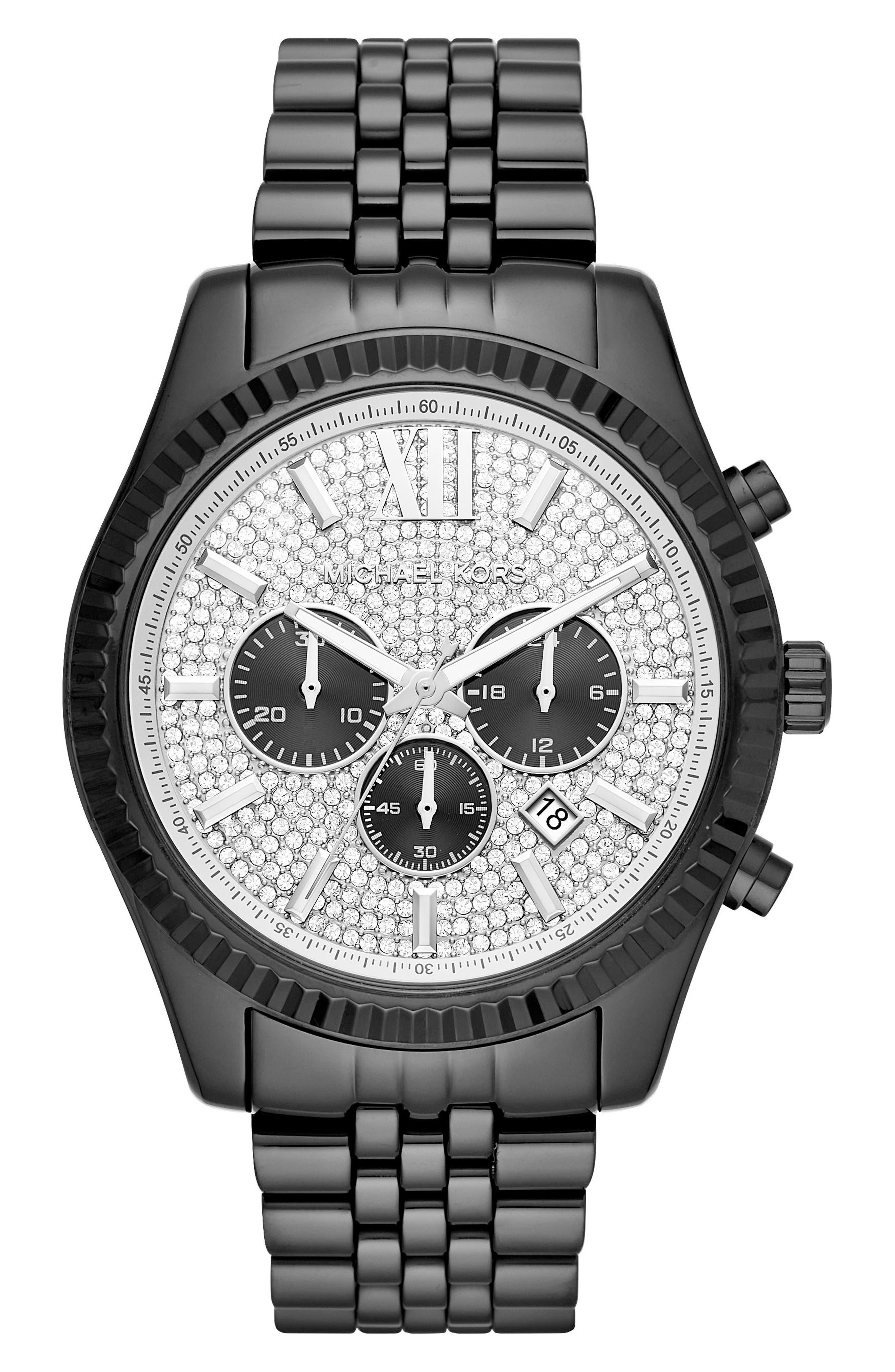MICHAEL KORS, Lexington Pavé Chronograph Bracelet Watch, 45mm x 54mm, Main thumbnail 1, color, BLACK/ SILVER/ BLACK