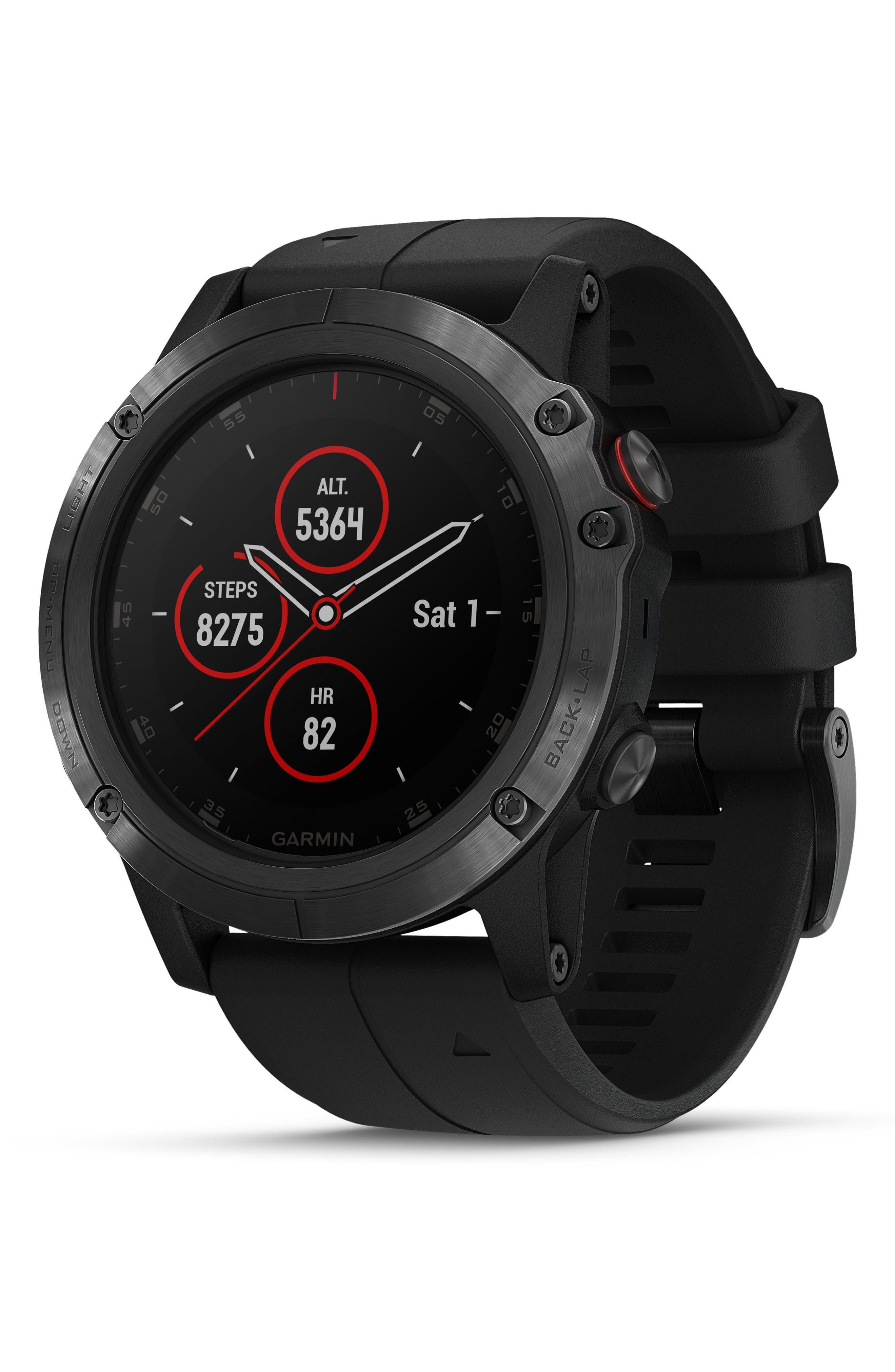 GARMIN, fenix<sup>®</sup> 5S Sapphire Premium Multisport GPS Watch, 51mm, Main thumbnail 1, color, BLACK