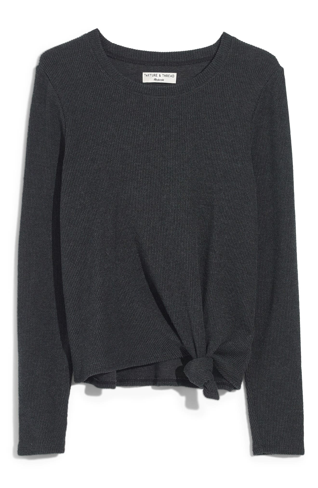 MADEWELL Texture & Thread Front Knot Jacquard Top, Main, color, HEATHER COAL