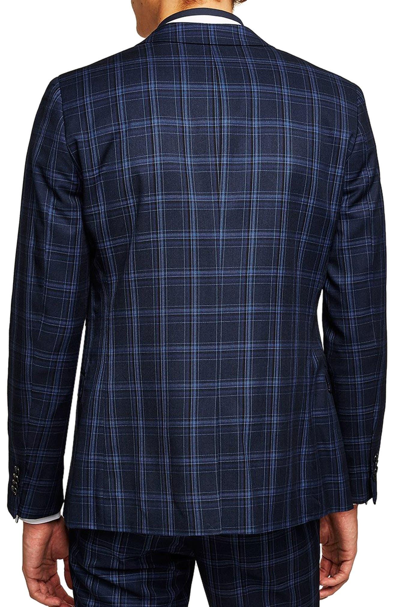 TOPMAN, Skinny Fit Check Suit Jacket, Alternate thumbnail 2, color, 400