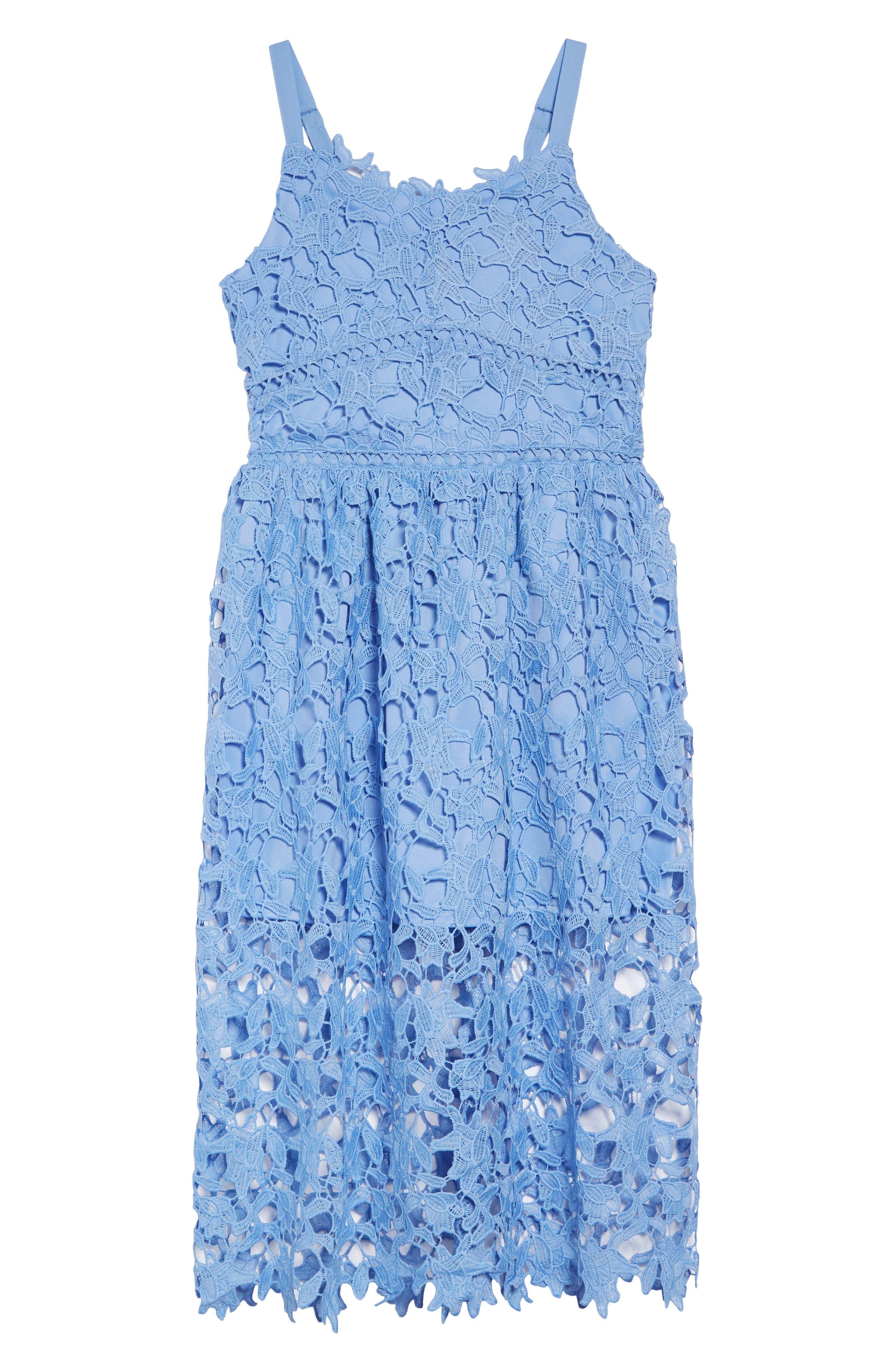 TRIXXI, Floral Lace Dress, Main thumbnail 1, color, PERIWINKLE