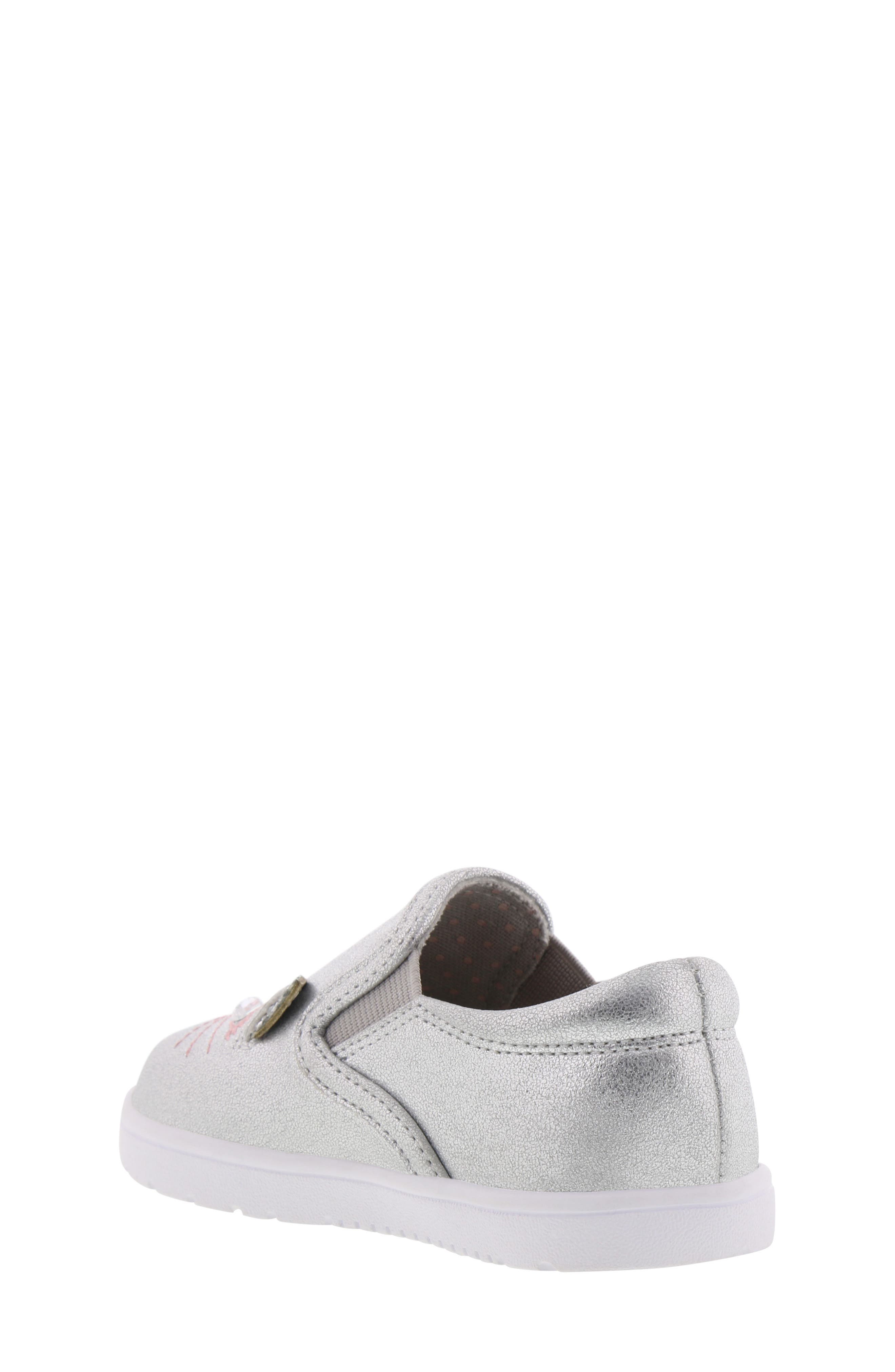 BØRN, Bailey Jaslyna Slip-On Glitter Sneaker, Alternate thumbnail 2, color, SILVER