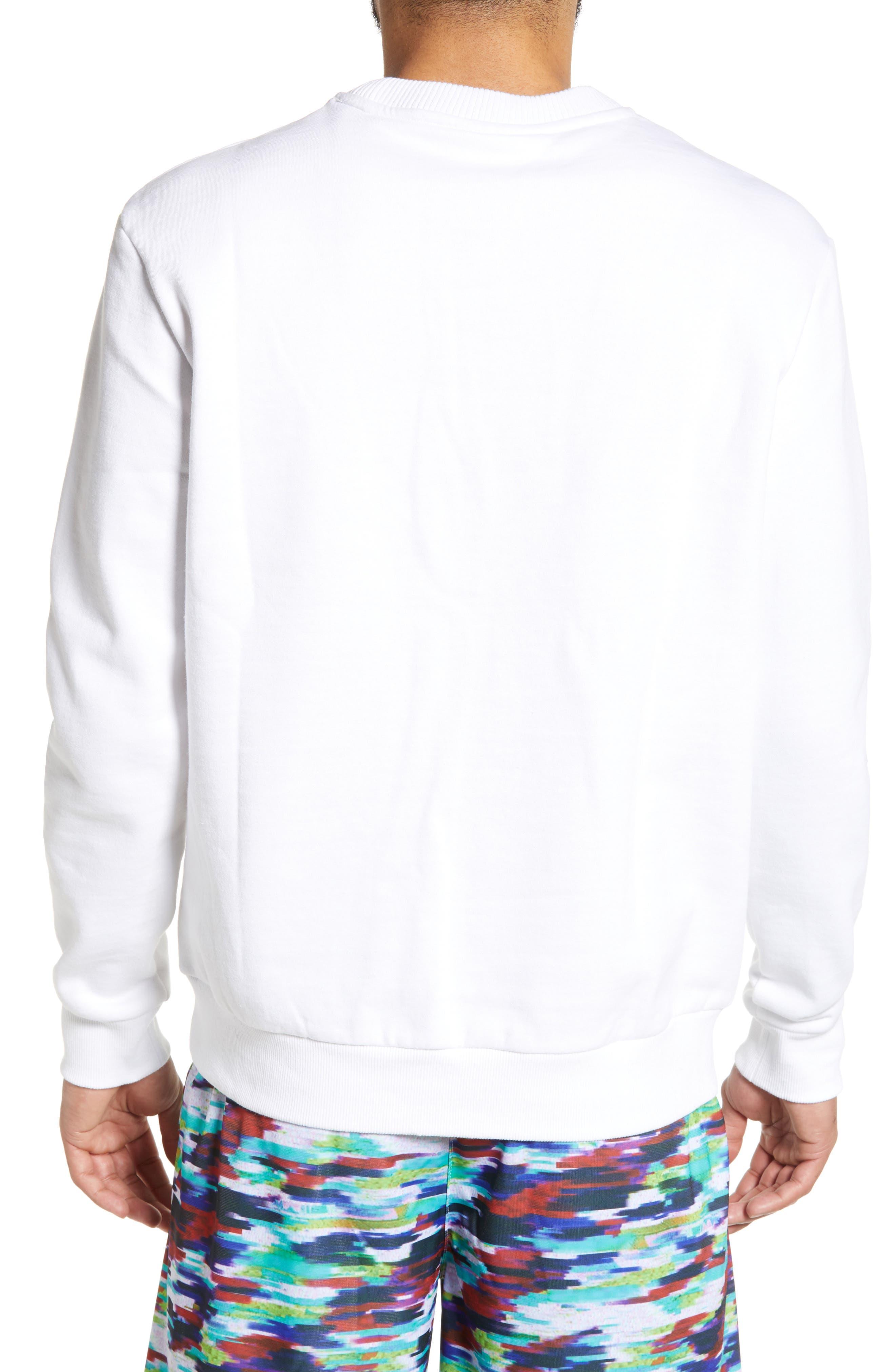 FILA, Leroy Chevron Sweatshirt, Alternate thumbnail 2, color, WHITE