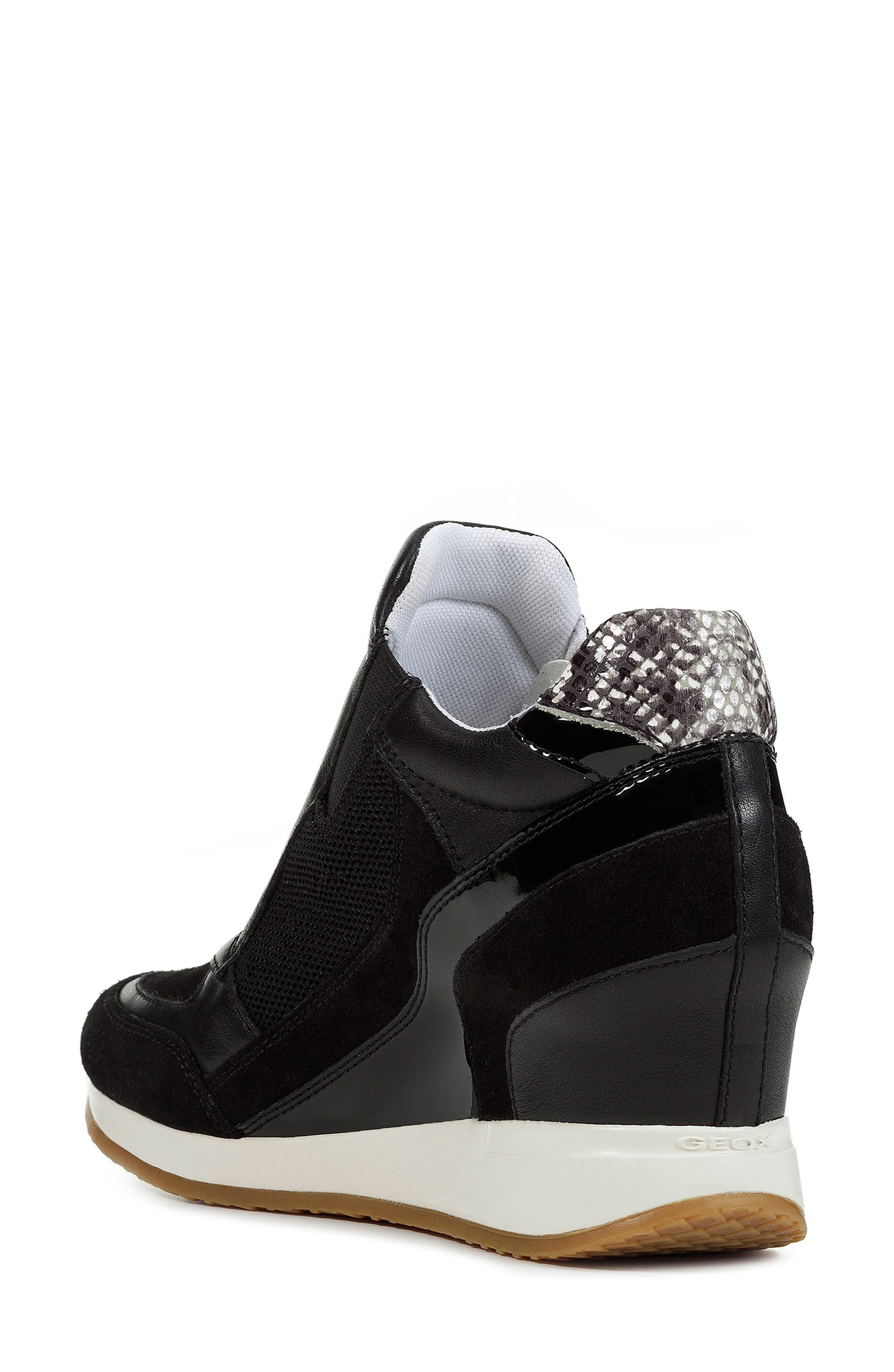 GEOX, Nydame Wedge Sneaker, Alternate thumbnail 2, color, BLACK/ BLACK LEATHER