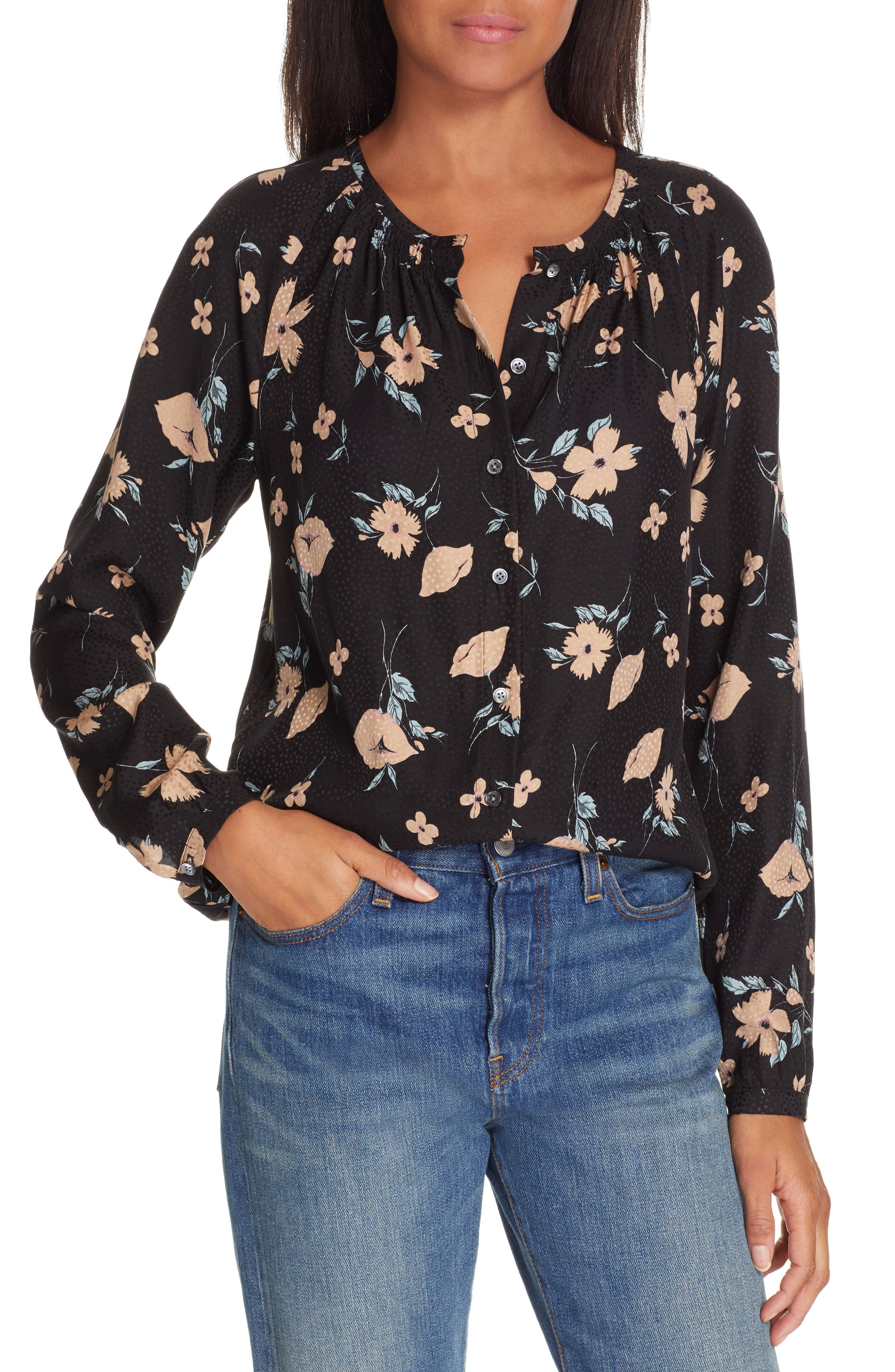 REBECCA TAYLOR Daniella Silk Blend Top, Main, color, BLACK COMBO