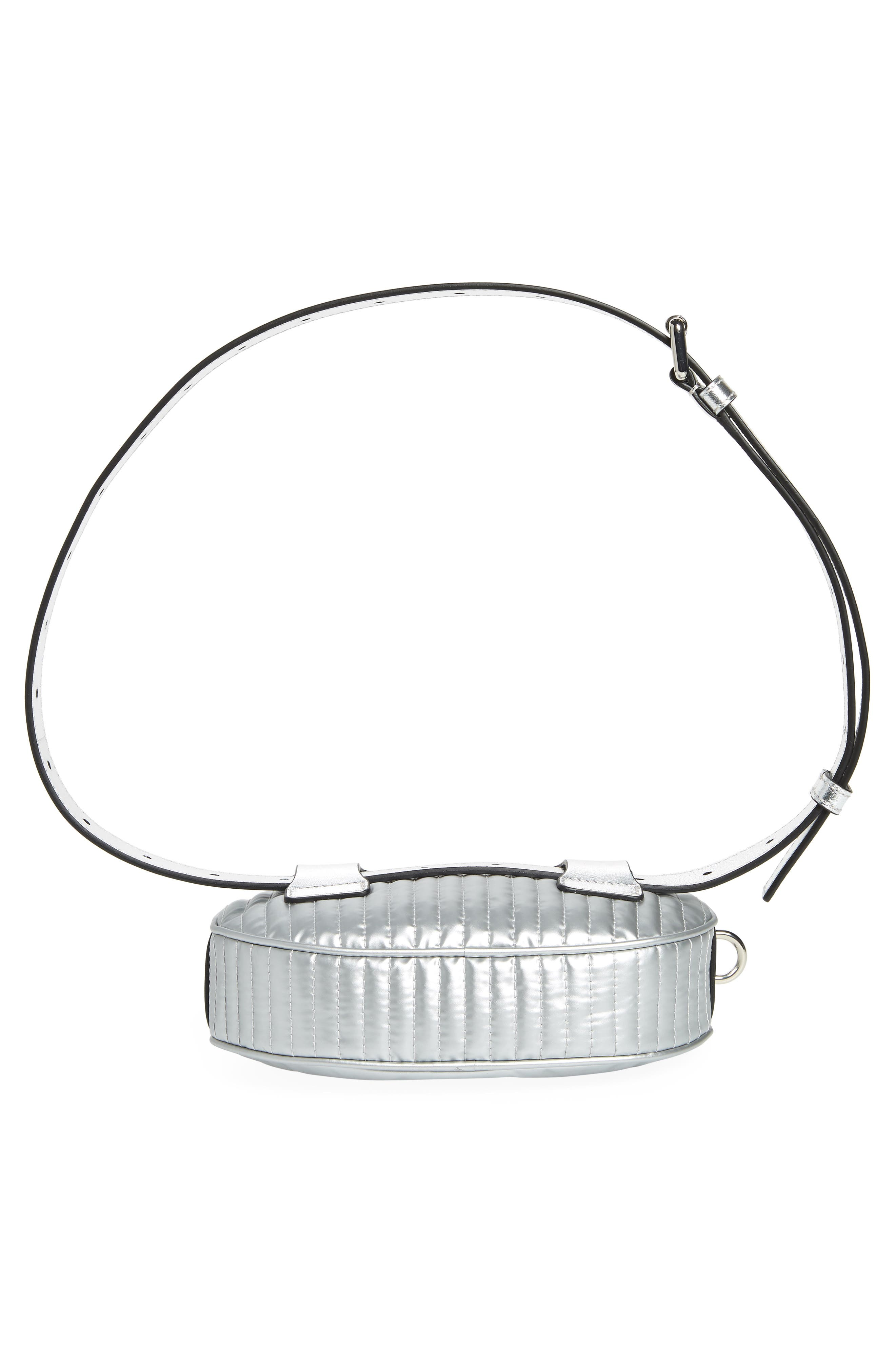 MOSCHINO, Silver Teddy Belt Bag, Alternate thumbnail 7, color, SILVER