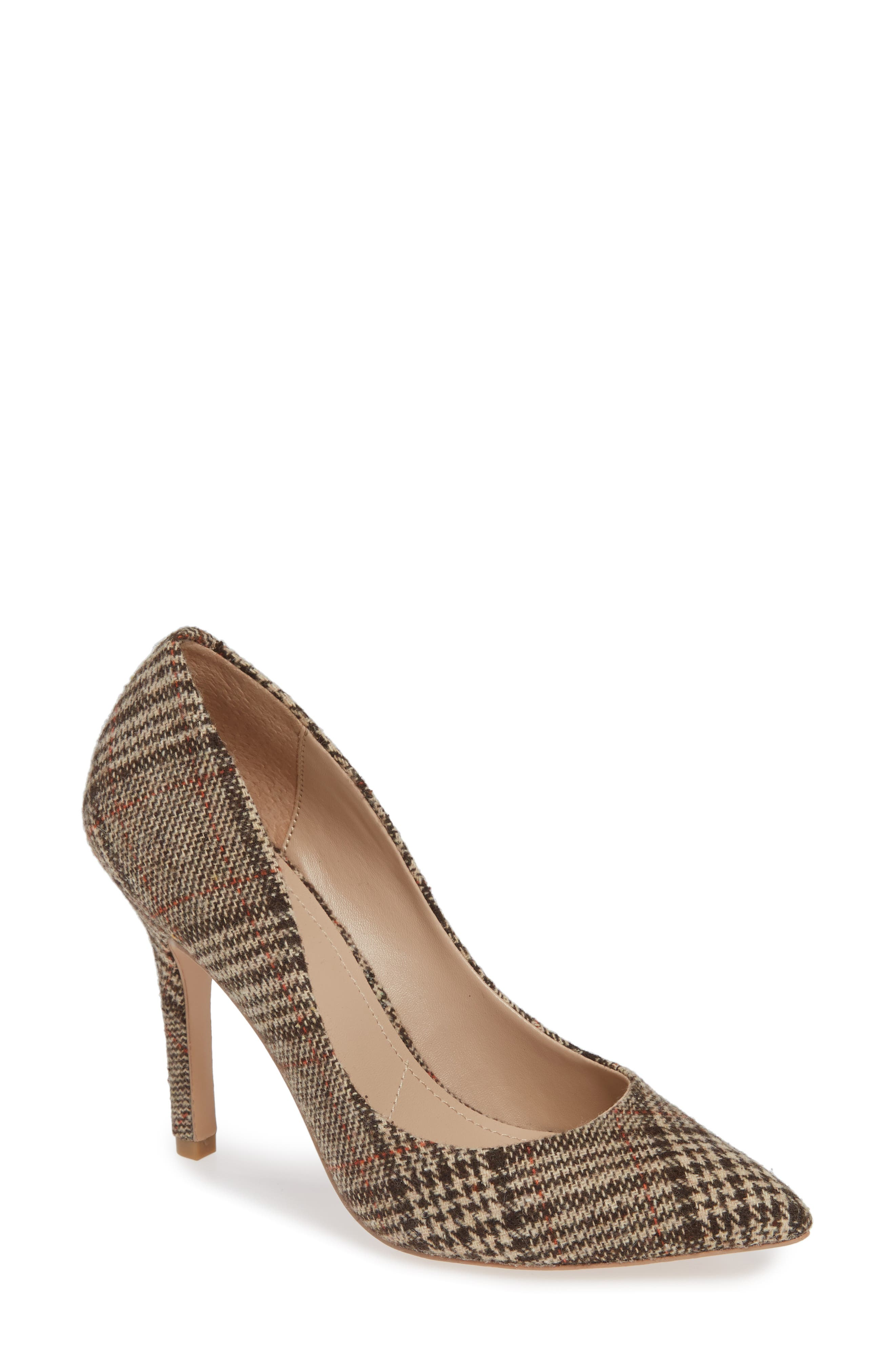 CHARLES BY CHARLES DAVID Maxx Pointy Toe Pump, Main, color, BROWN PLAID FABRIC