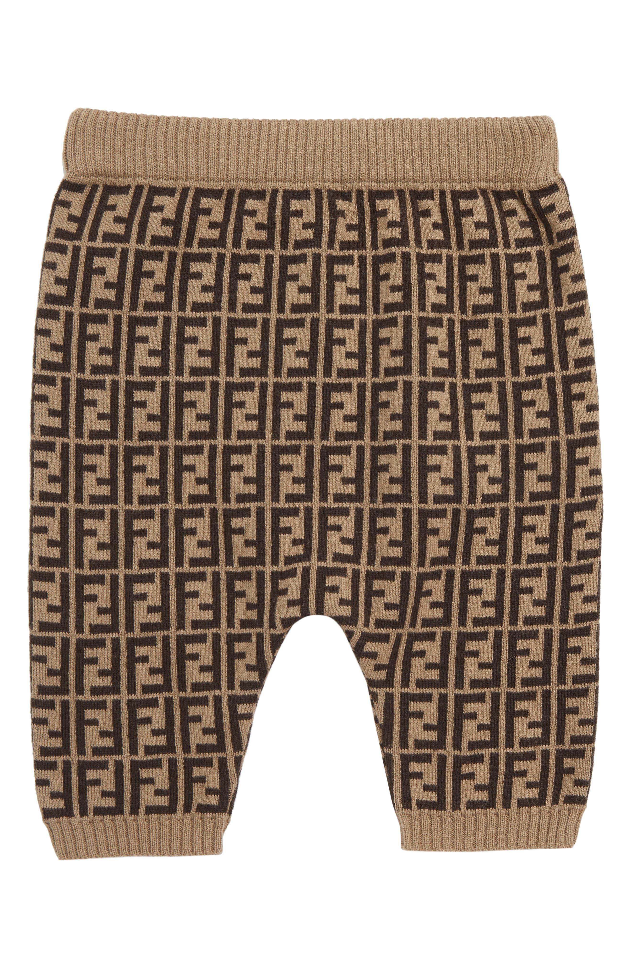 FENDI, Logo Sweater Knit Pants, Main thumbnail 1, color, F0LMJ BROWN