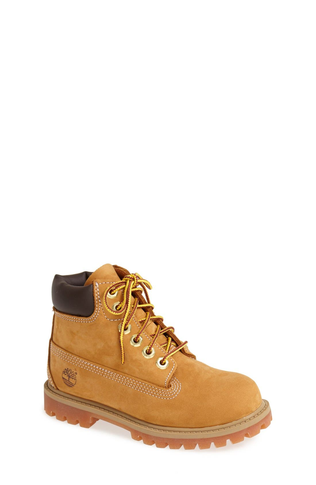 TIMBERLAND, '6 Inch Premium' Waterproof Boot, Main thumbnail 1, color, WHEAT NUBUCK