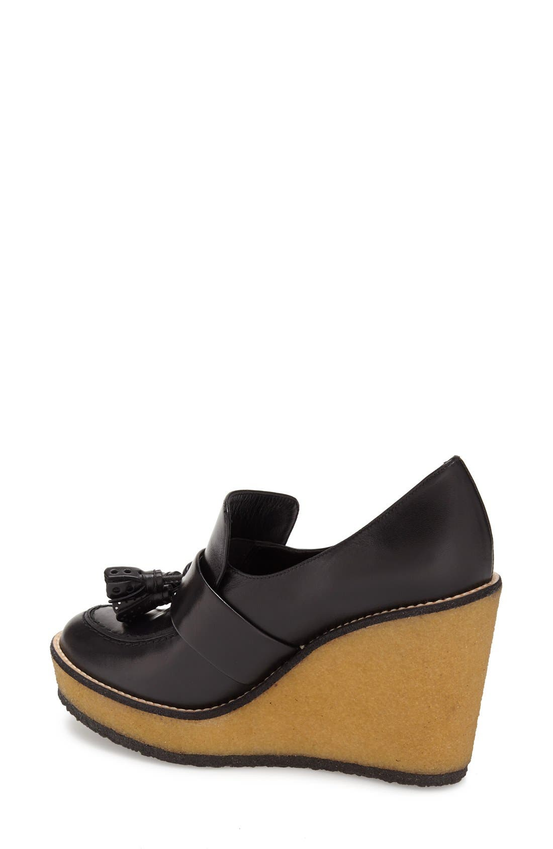 ROBERT CLERGERIE, 'Astrid' Wedge Loafer, Alternate thumbnail 3, color, 001