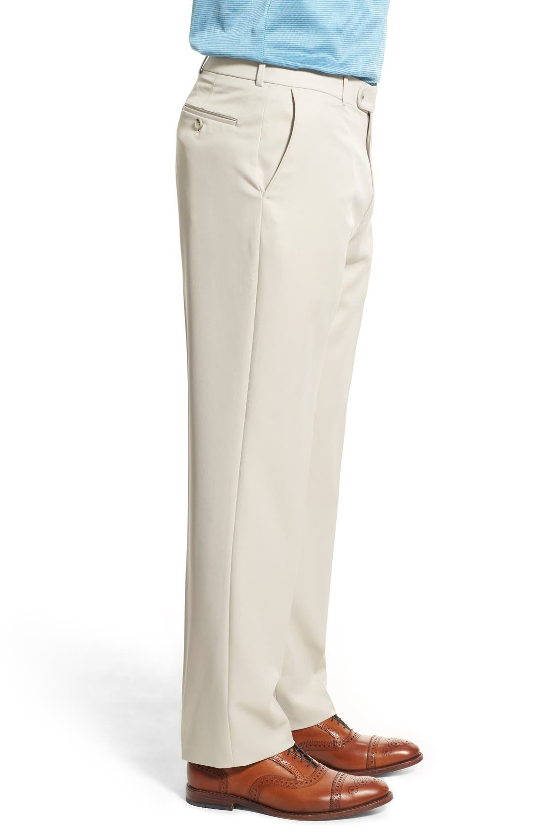 BALLIN, Regular Fit Flat Front Trousers, Alternate thumbnail 9, color, OYSTER