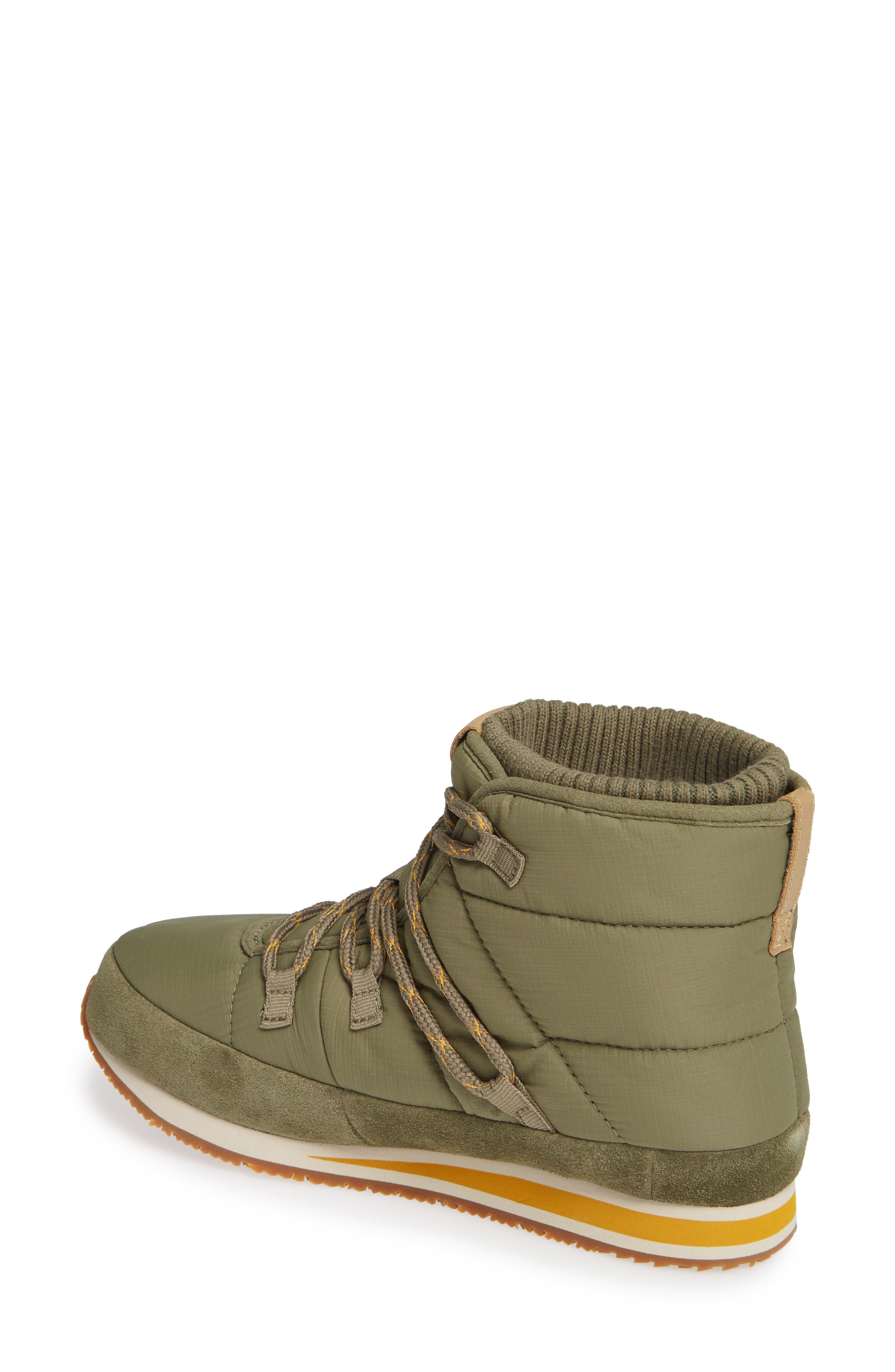 TEVA, Ember Lace-Up Winter Bootie, Alternate thumbnail 2, color, BURNT OLIVE FABRIC
