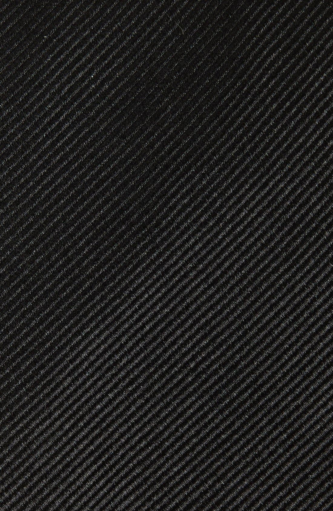 GITMAN, Solid Silk Tie, Alternate thumbnail 2, color, BLACK