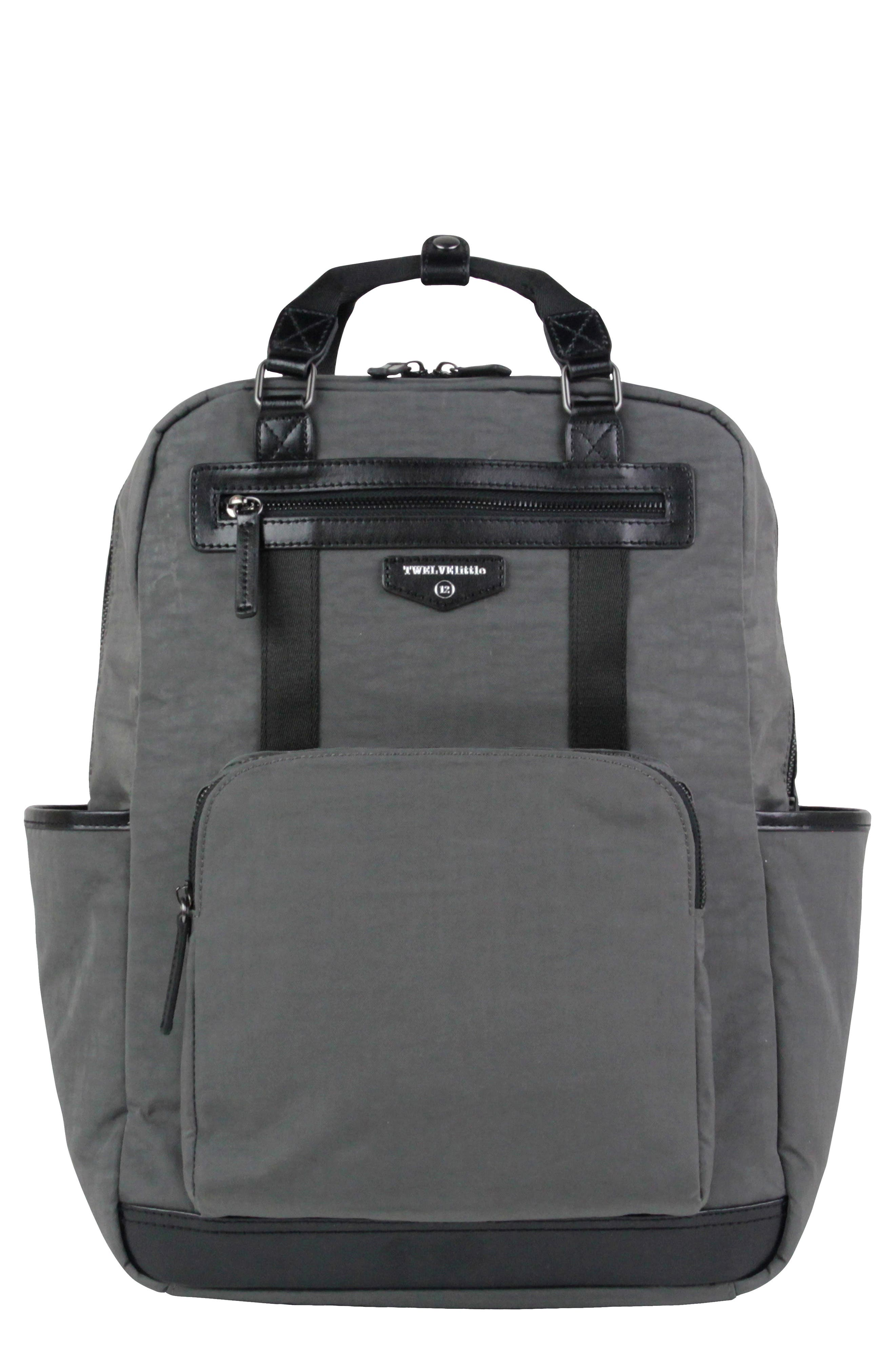 TWELVELITTLE, 'Courage' Unisex Backpack Diaper Bag, Main thumbnail 1, color, DARK GREY