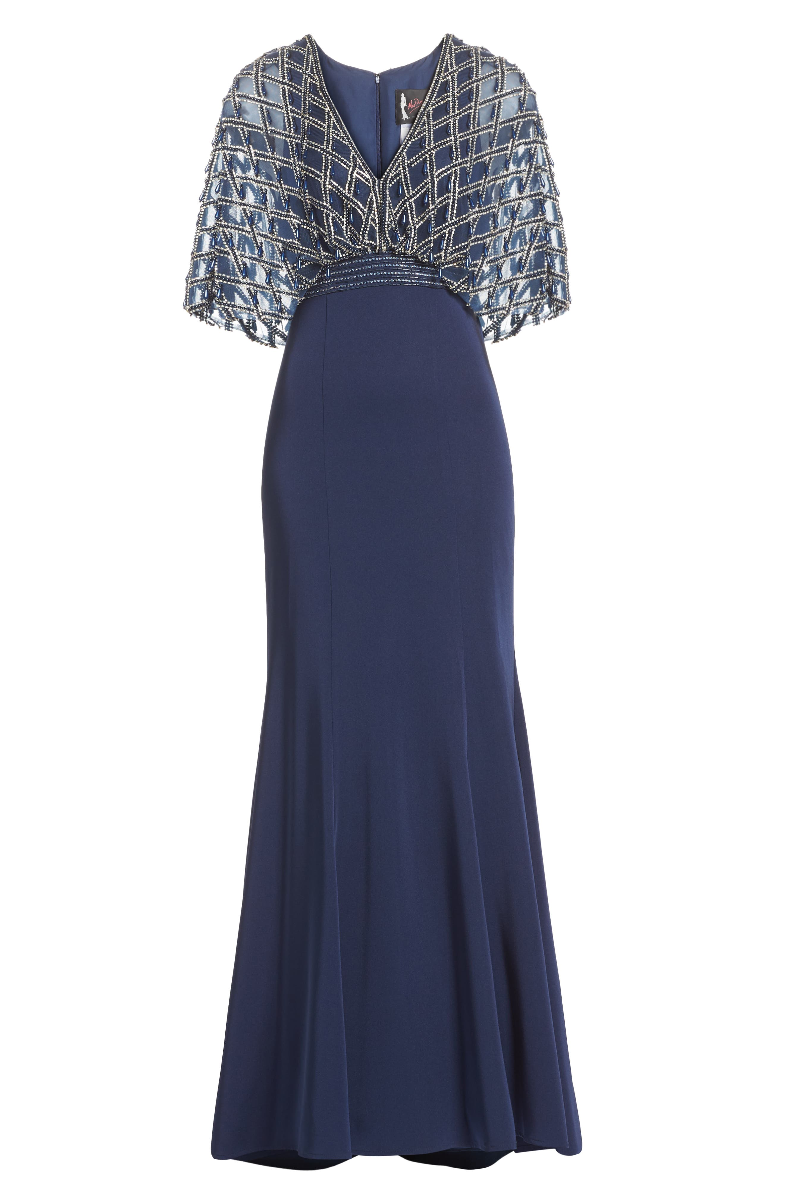 MAC DUGGAL, Plunging Beaded Gown, Alternate thumbnail 6, color, MIDNIGHT