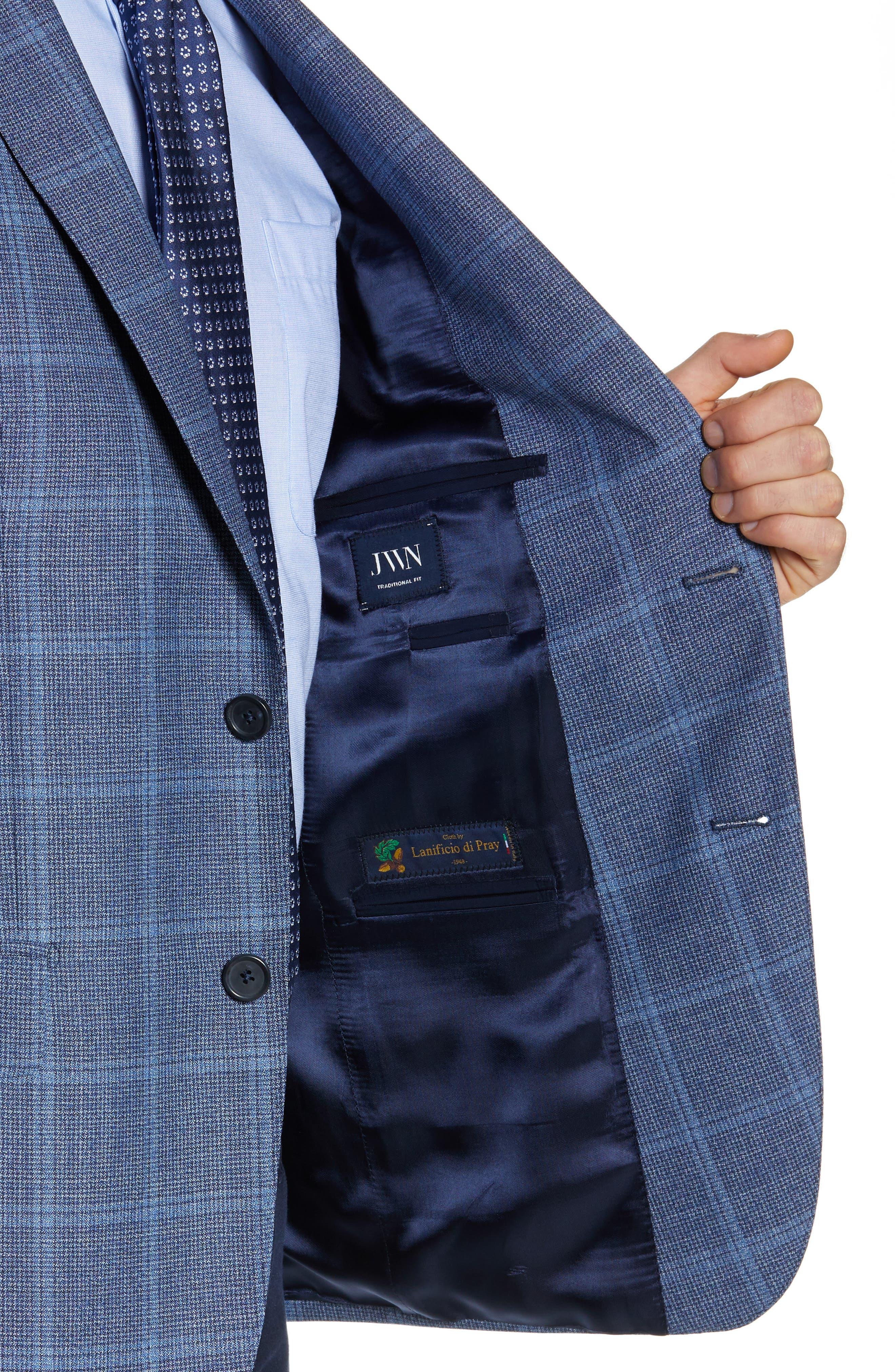 JOHN W. NORDSTROM<SUP>®</SUP>, Traditional Fit Windowpane Wool Sport Coat, Alternate thumbnail 5, color, BLUE DARK NAVY WINDOWPANE