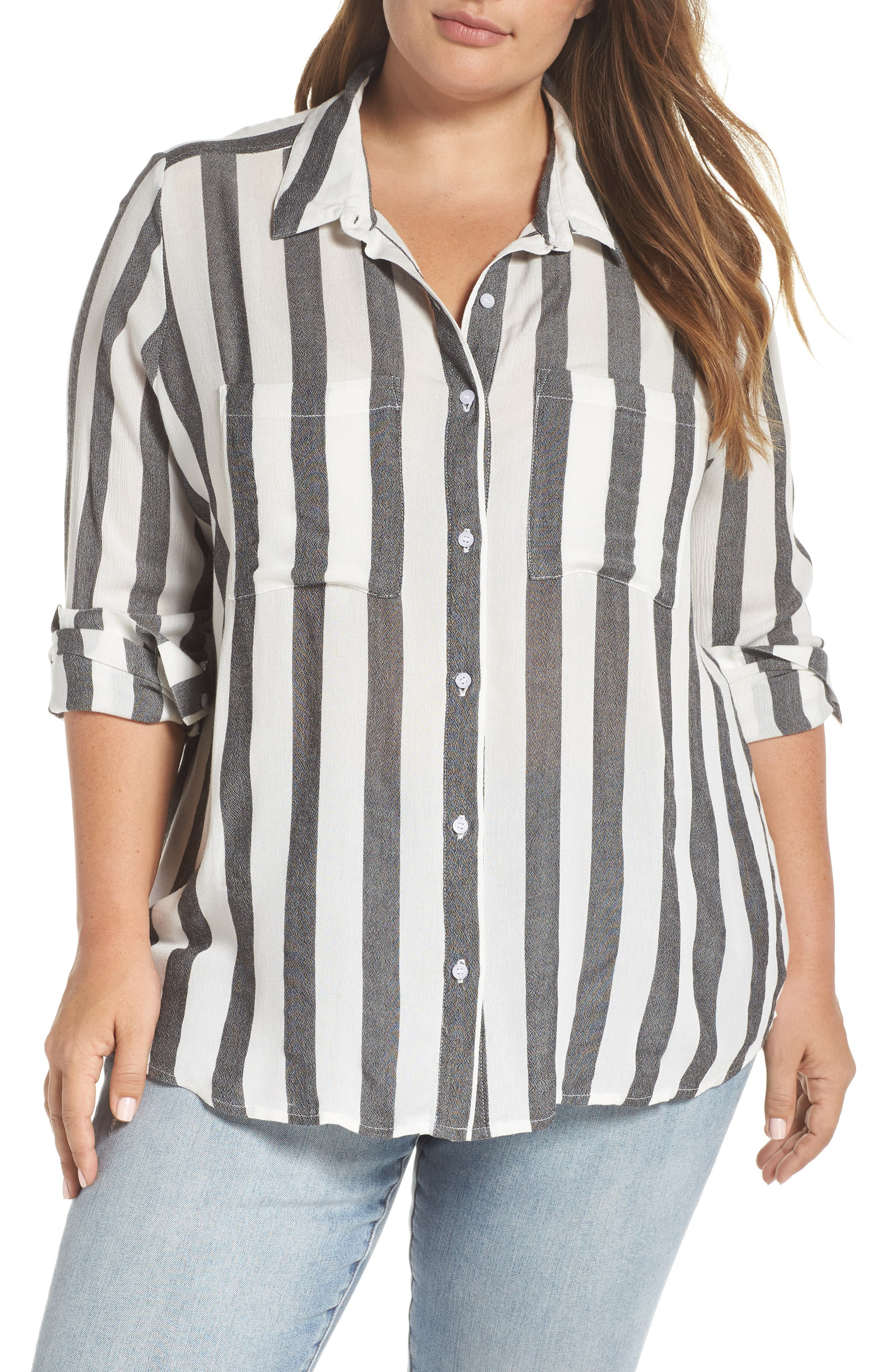 BP., Perfect Stripe Shirt, Main thumbnail 1, color, 001