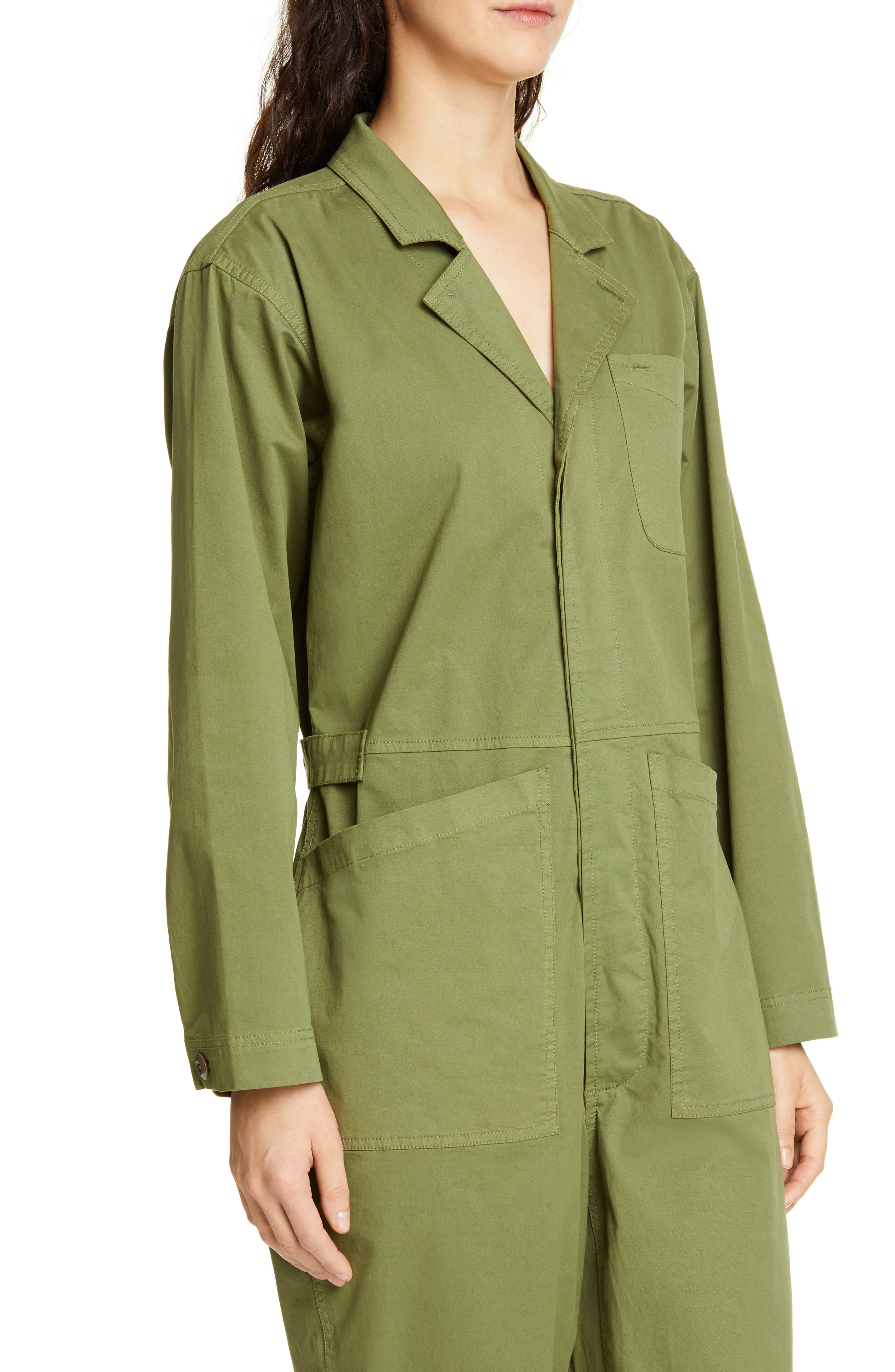 ALEX MILL, Stretch Cotton Jumpsuit, Alternate thumbnail 5, color, ARMY GREEN