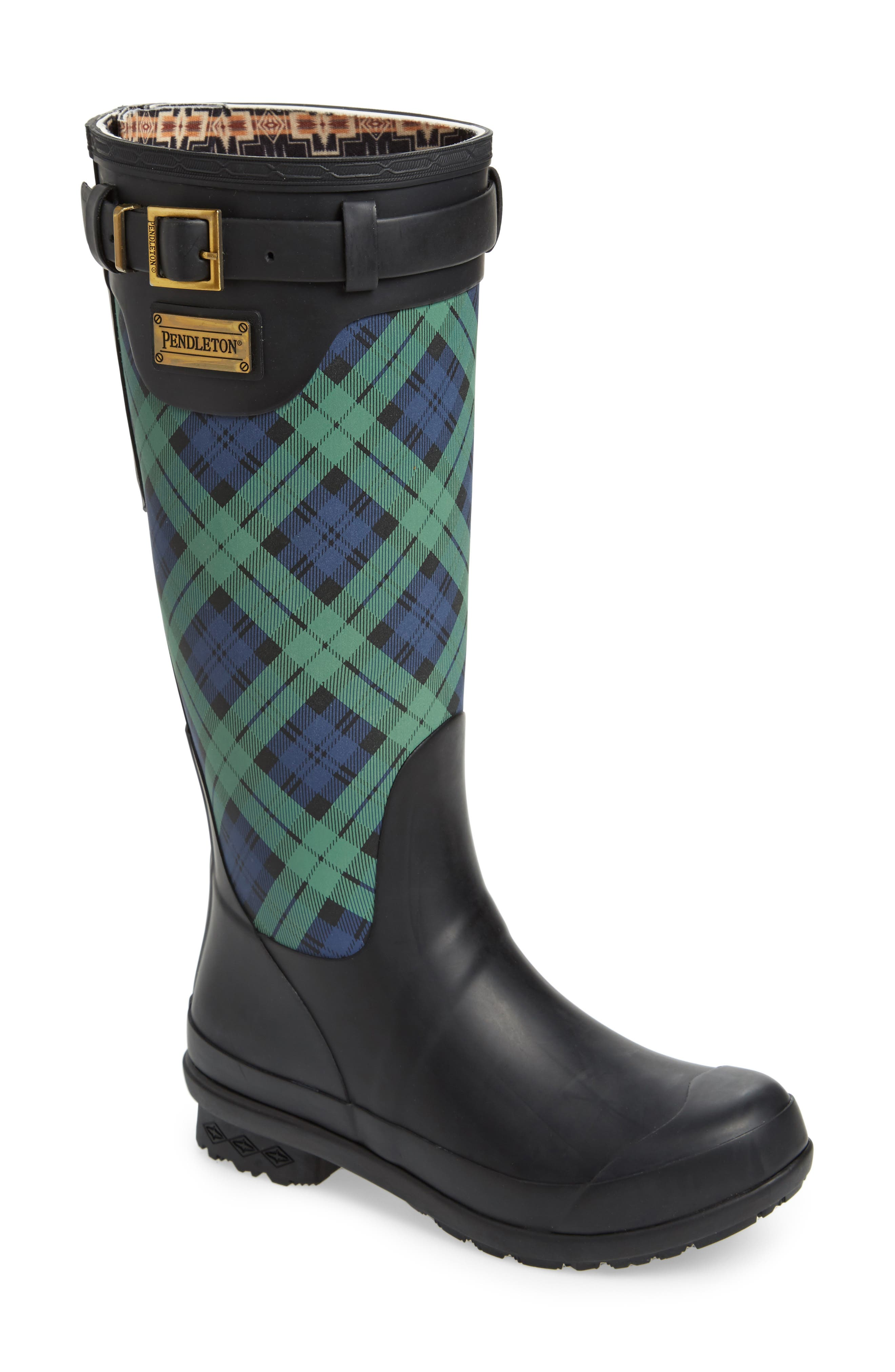 PENDLETON, Heritage Black Watch Tartan Tall Waterproof Boot, Main thumbnail 1, color, NAVY