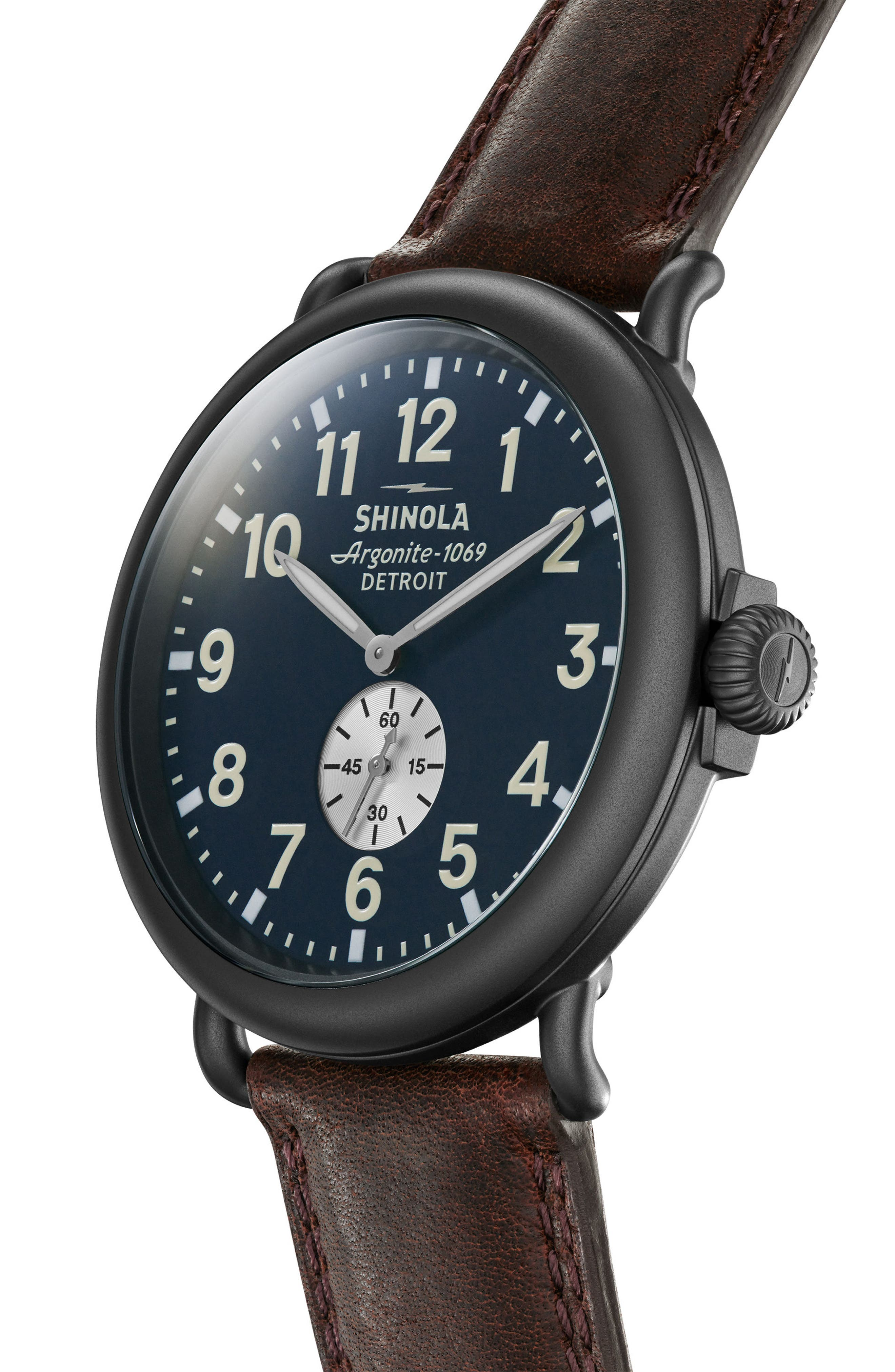 SHINOLA, 'The Runwell' Leather Strap Watch, 47mm, Alternate thumbnail 4, color, CATTAIL/ MIDNIGHT/ GUNMETAL
