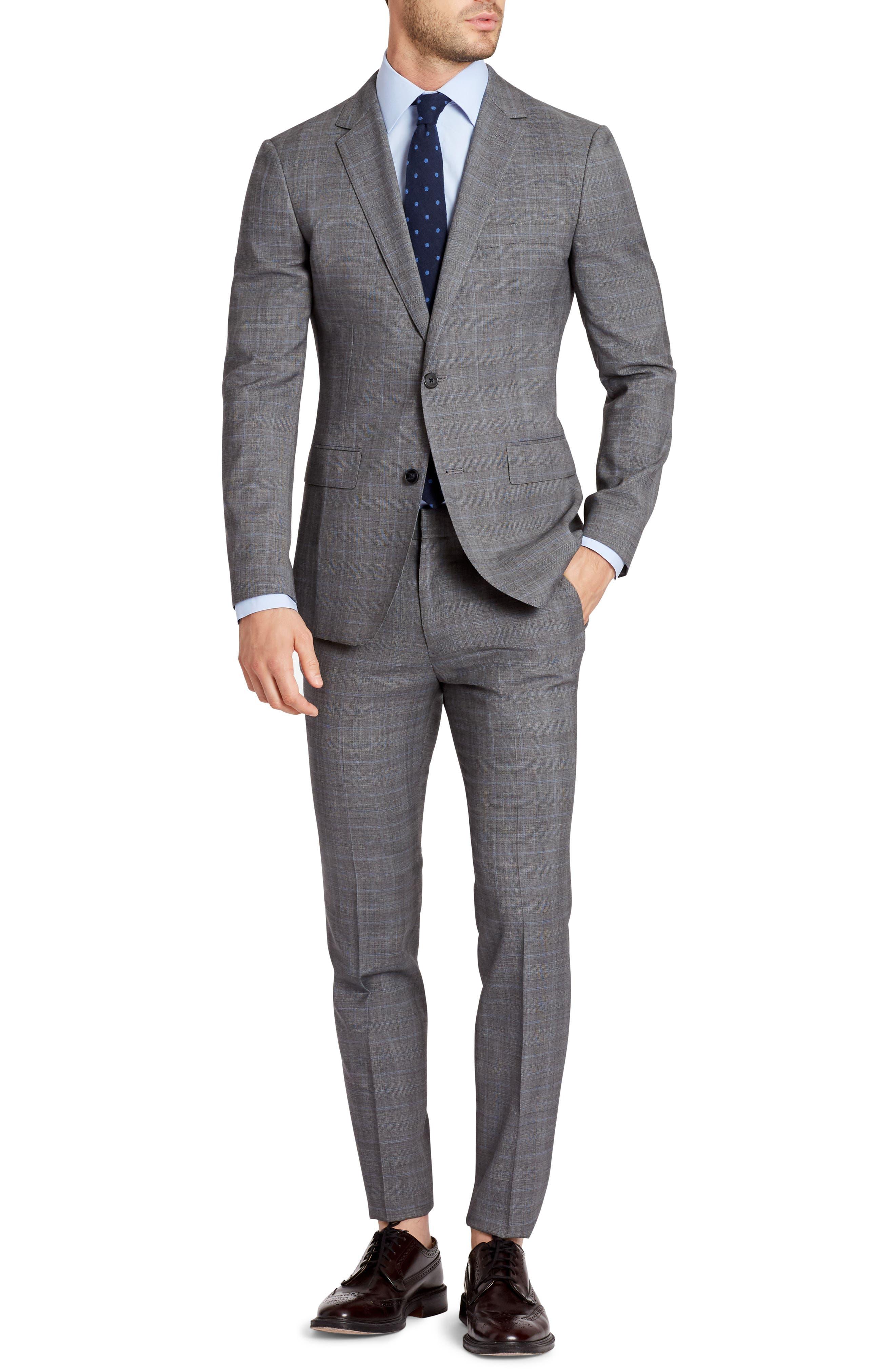 BONOBOS, Jetsetter Flat Front Plaid Stretch Wool Trousers, Alternate thumbnail 4, color, 020