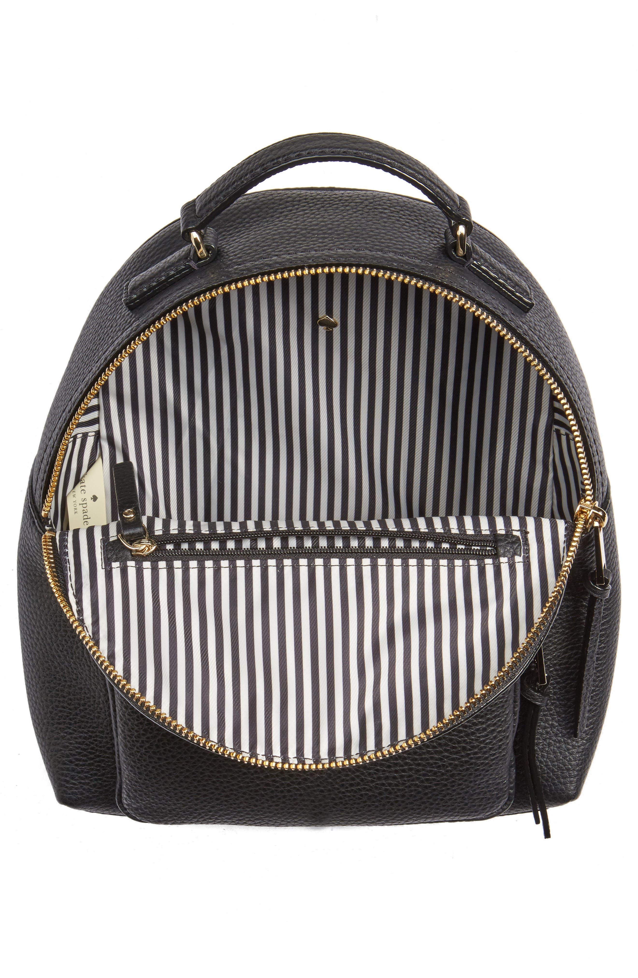 KATE SPADE NEW YORK, jackson street - keleigh leather backpack, Alternate thumbnail 4, color, 001