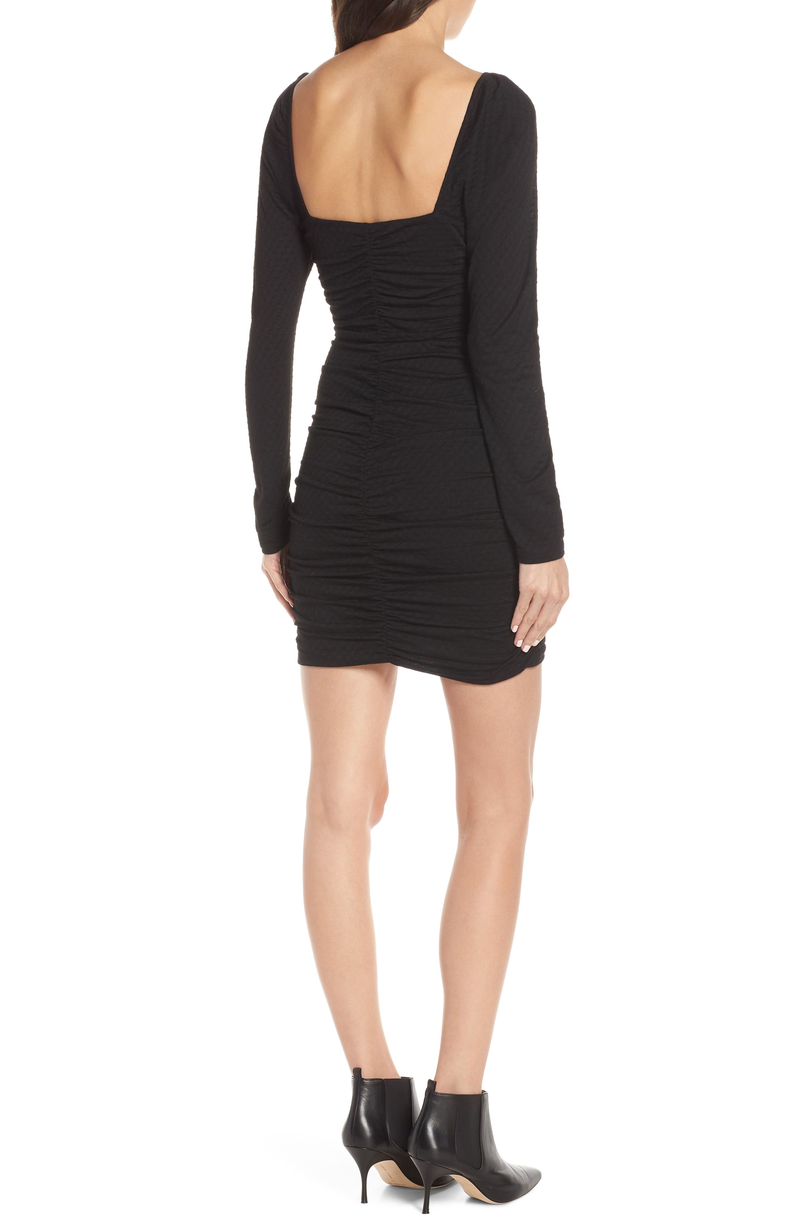 ALI & JAY, Ruched Body-Con Dress, Alternate thumbnail 2, color, BLACK