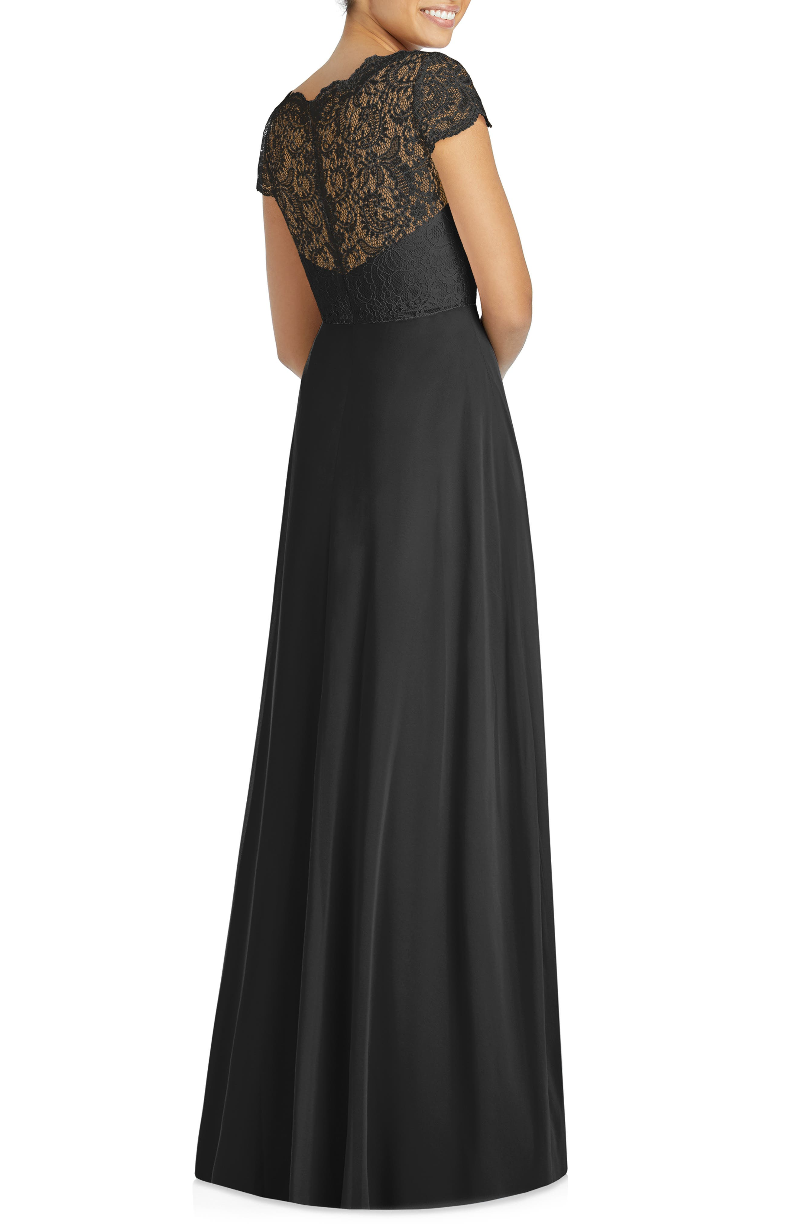 DESSY COLLECTION, Cap Sleeve Lace & Chiffon Gown, Alternate thumbnail 2, color, BLACK