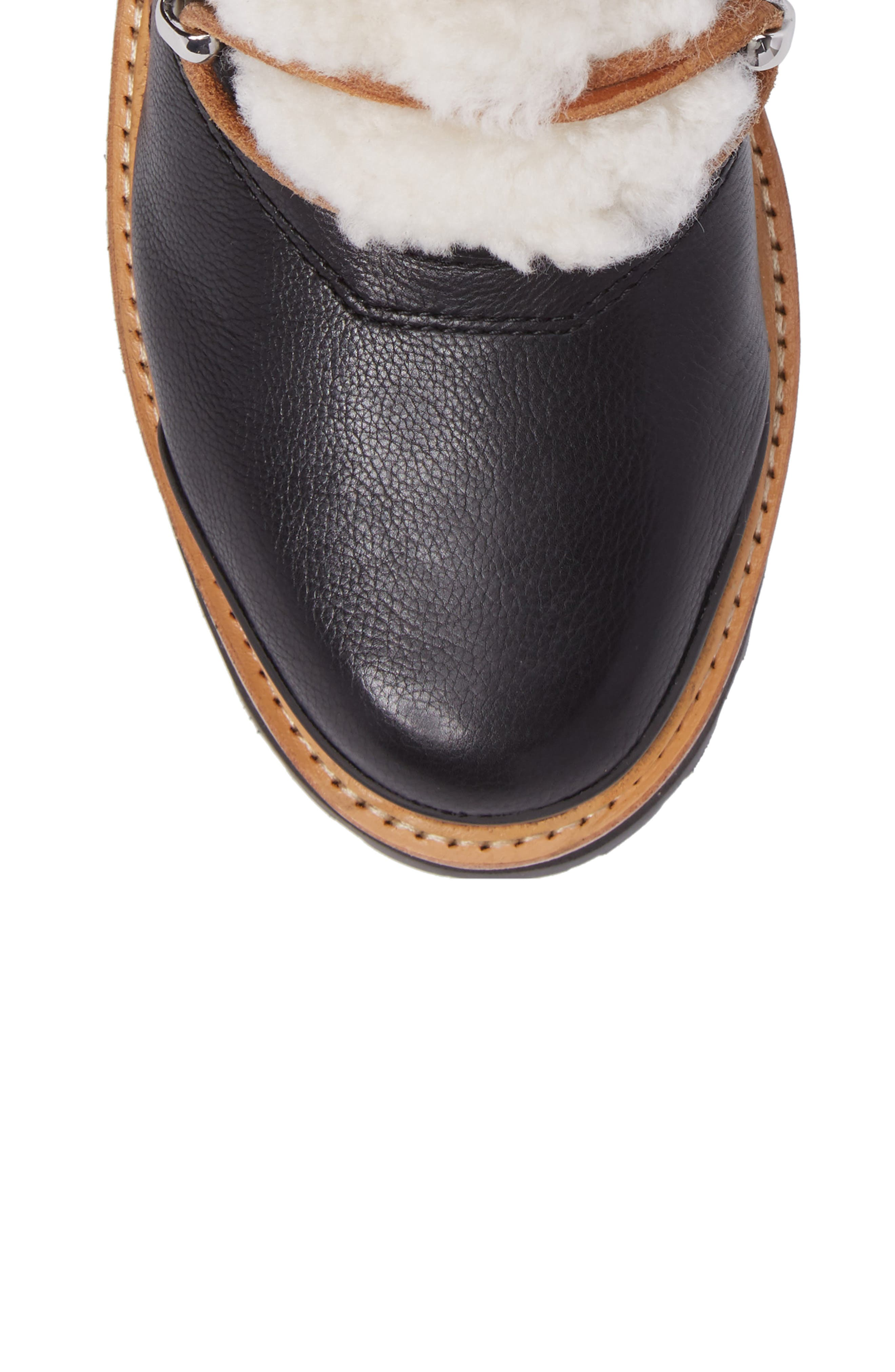 MARC FISHER LTD, Izzie Genuine Shearling Lace-Up Boot, Alternate thumbnail 5, color, BLACK LEATHER