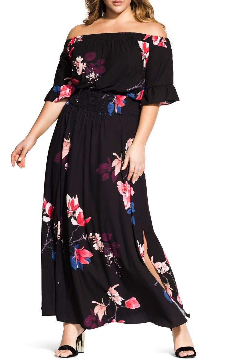 City Chic Dresses SPRING LOTUS OFF THE SHOULDER MAXI DRESS
