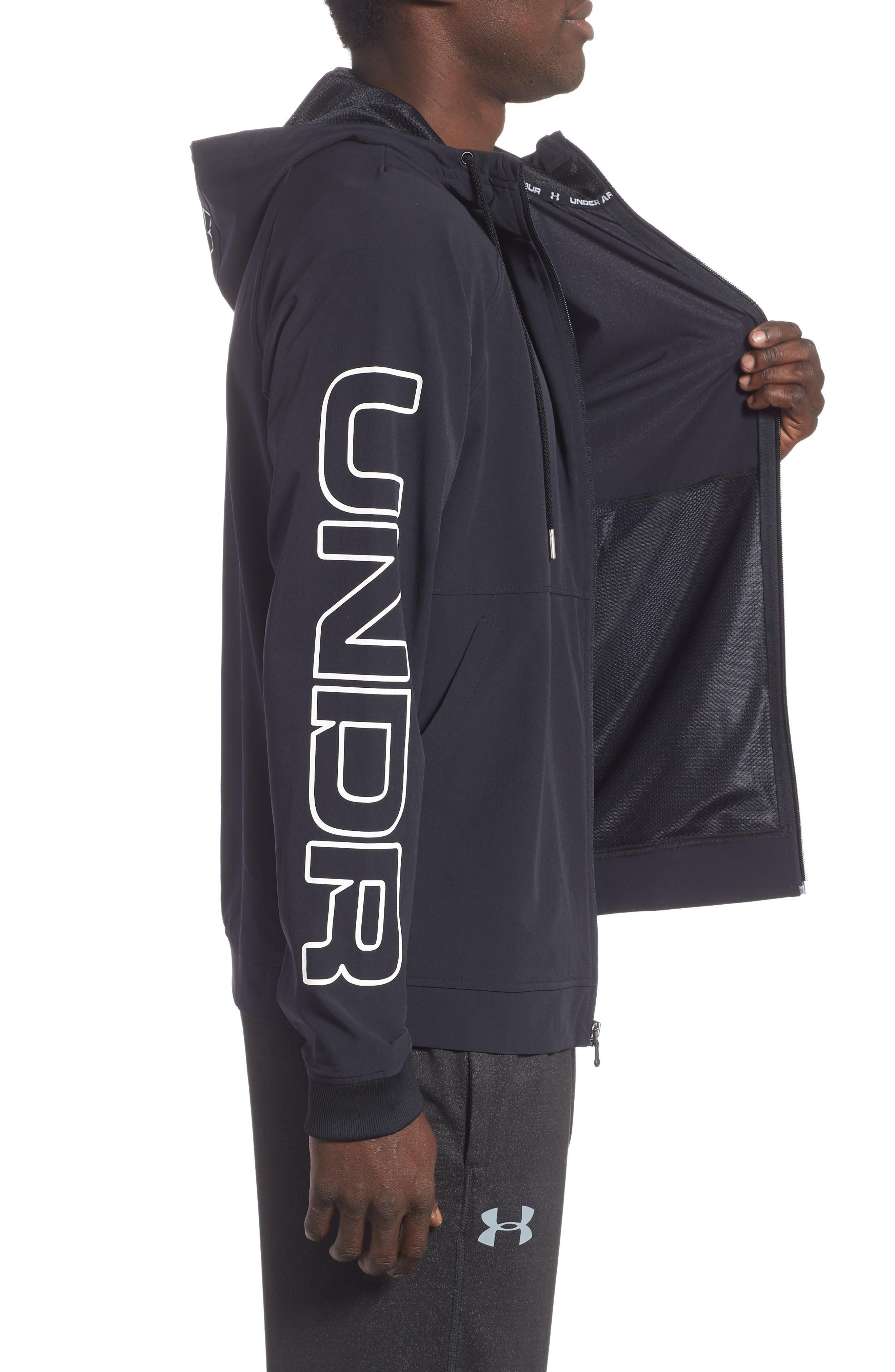 UNDER ARMOUR, Baseline Hooded Jacket, Alternate thumbnail 4, color, 001