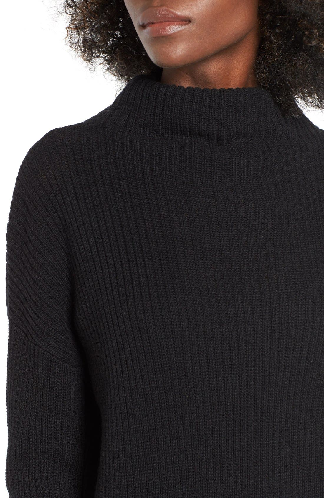 BP., Mock Neck Sweater, Alternate thumbnail 4, color, 001