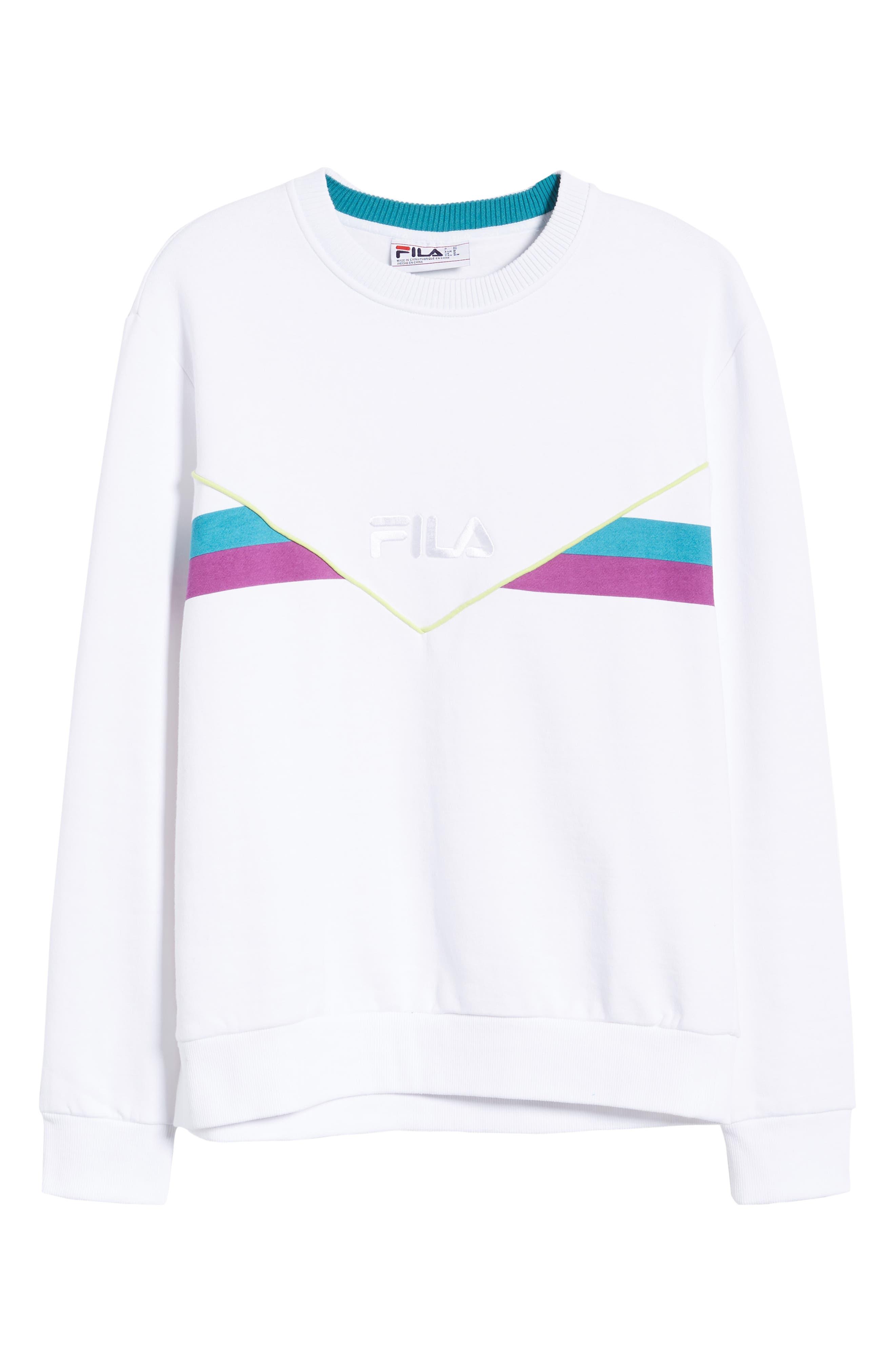 FILA, Leroy Chevron Sweatshirt, Alternate thumbnail 6, color, WHITE
