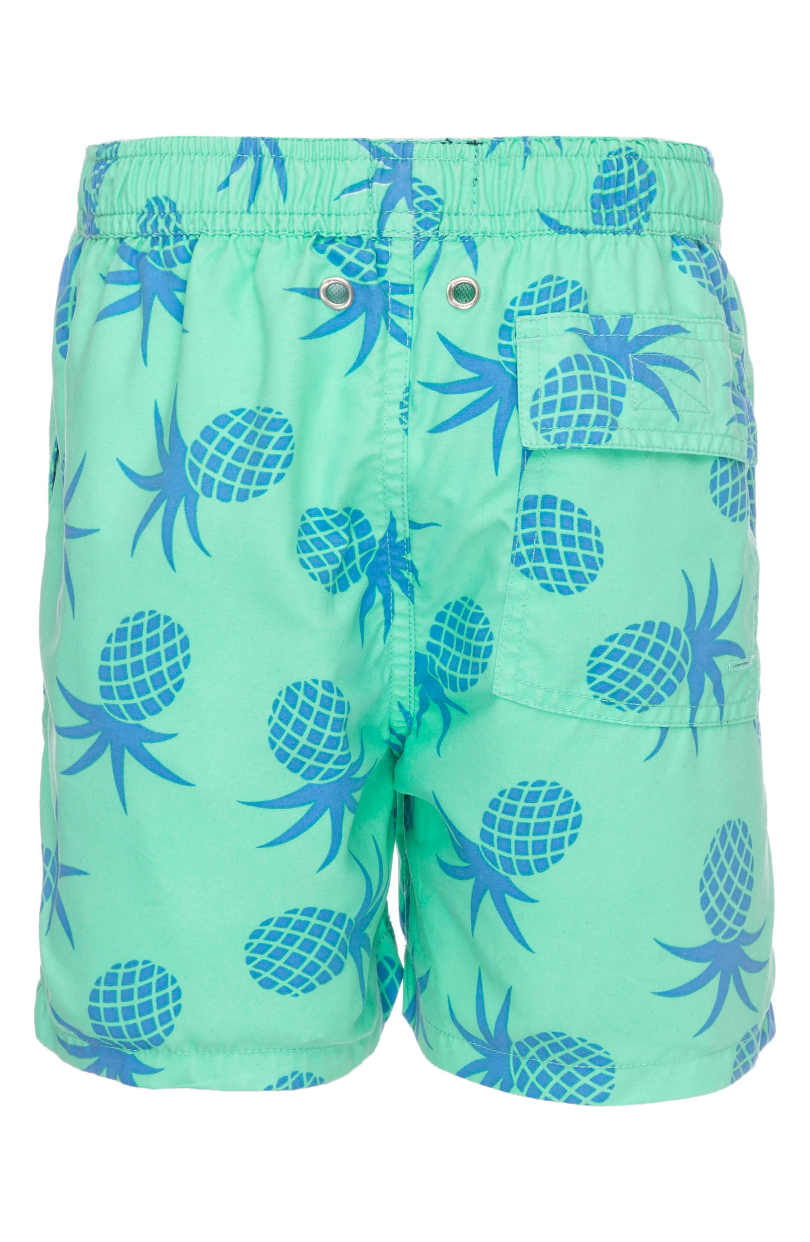TOM & TEDDY, Pineapple Swim Trunks, Alternate thumbnail 2, color, JADE GREEN