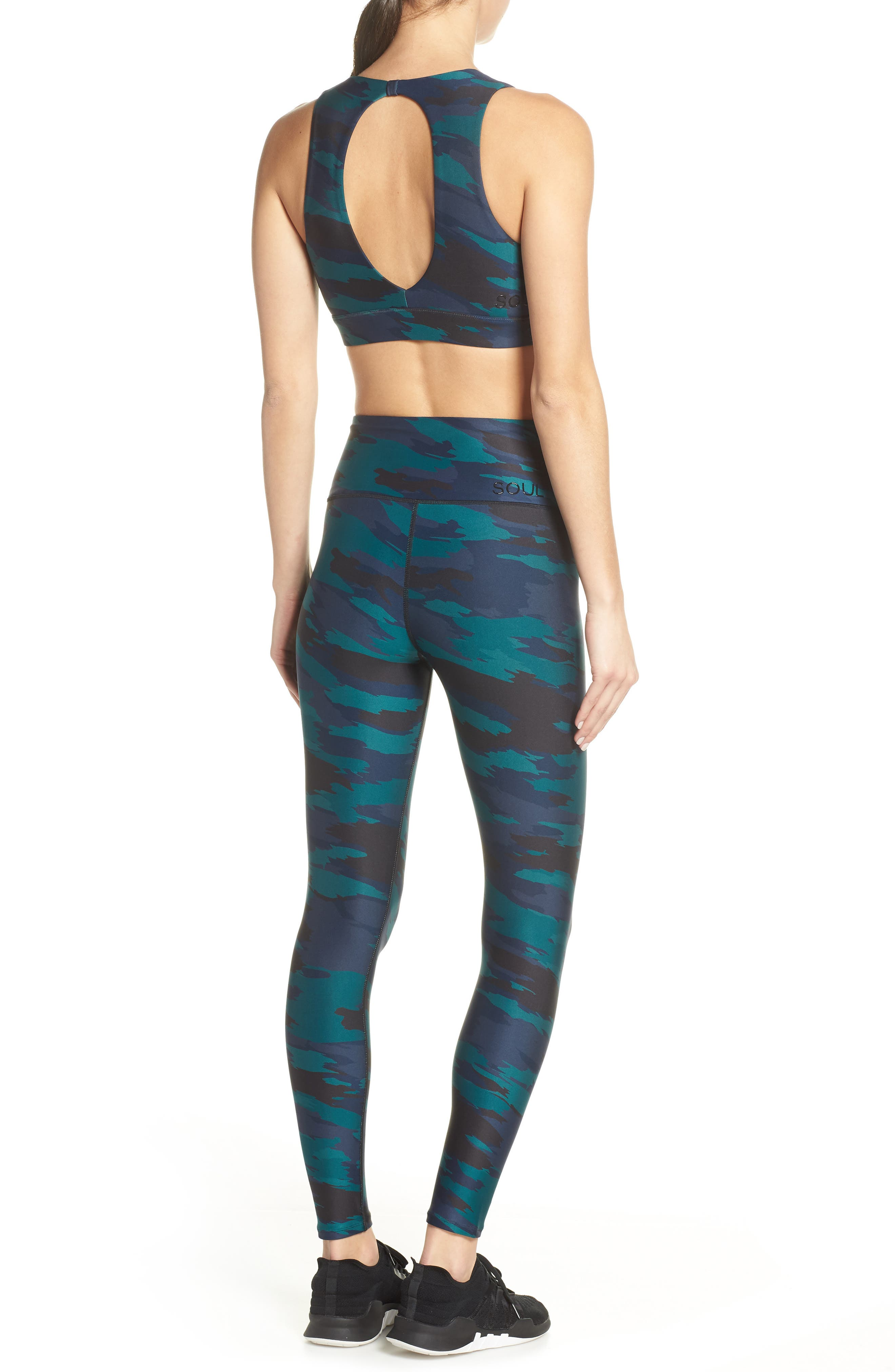 SOUL BY SOULCYCLE, High Waist Camo Tights, Alternate thumbnail 9, color, CAMO