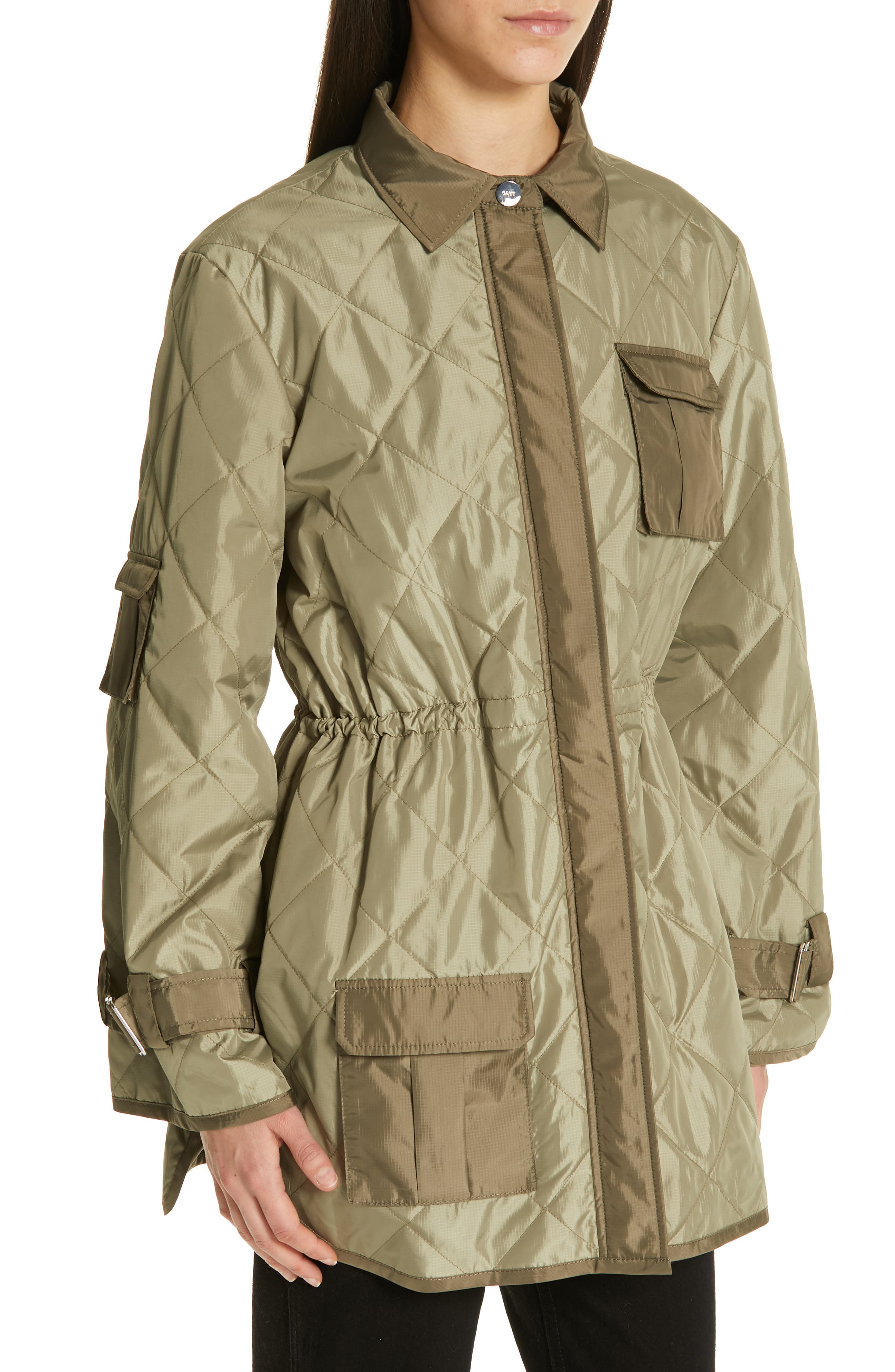 GANNI, Quilted Ripstop Jacket, Alternate thumbnail 4, color, ALOE