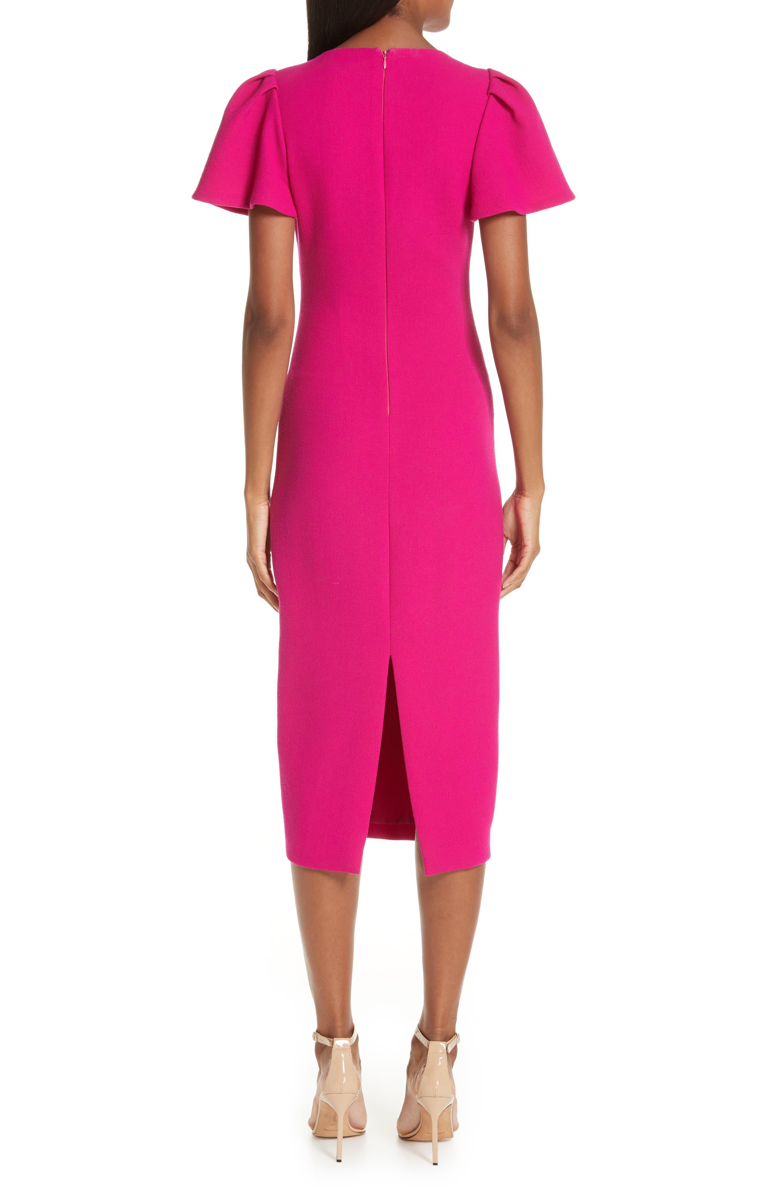BRANDON MAXWELL, Flutter Sleeve Sheath Dress, Alternate thumbnail 2, color, MAGENTA