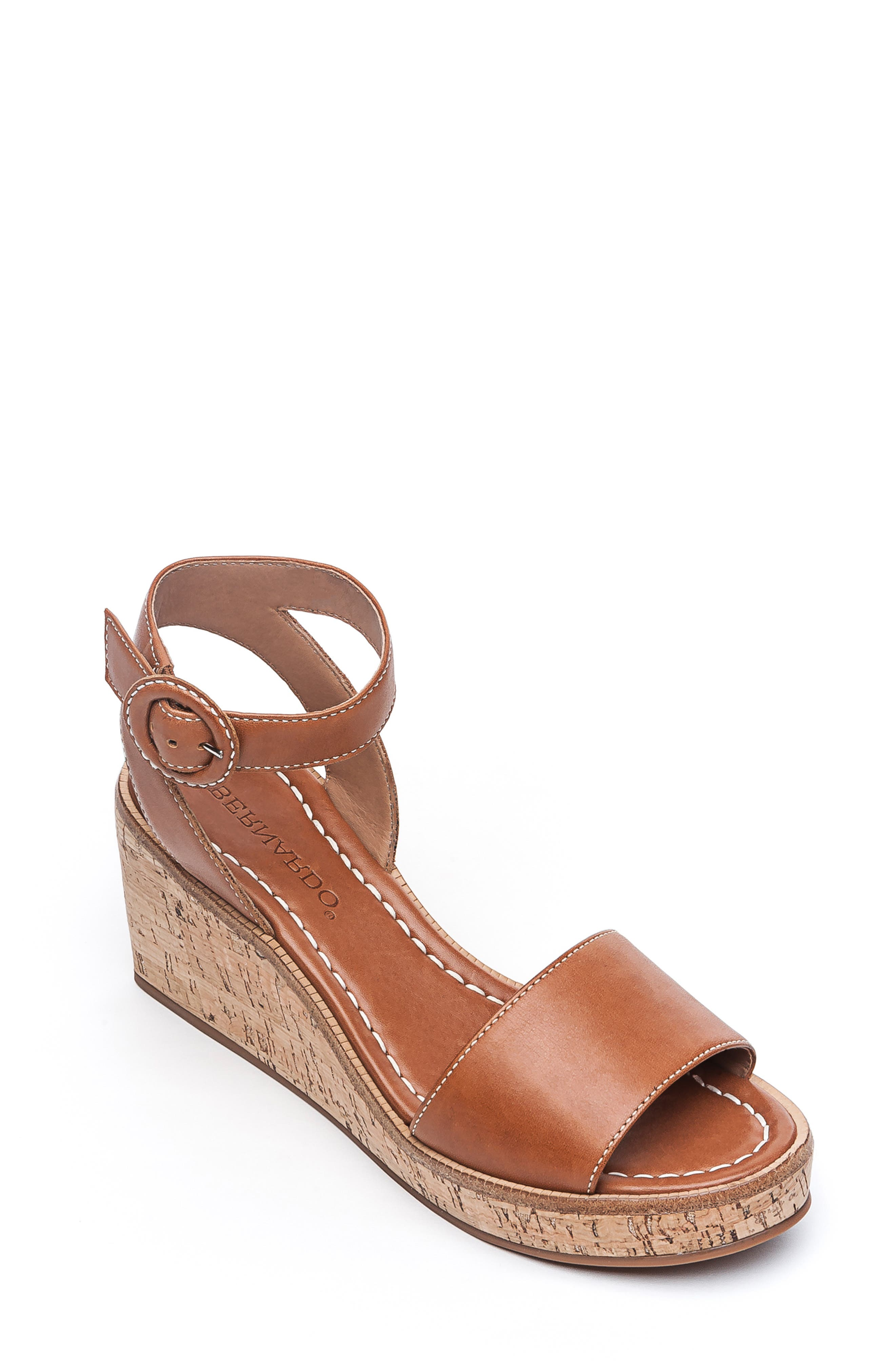BERNARDO, Footwear Kelly Wedge Sandal, Main thumbnail 1, color, LUGGAGE ANTIQUE LEATHER