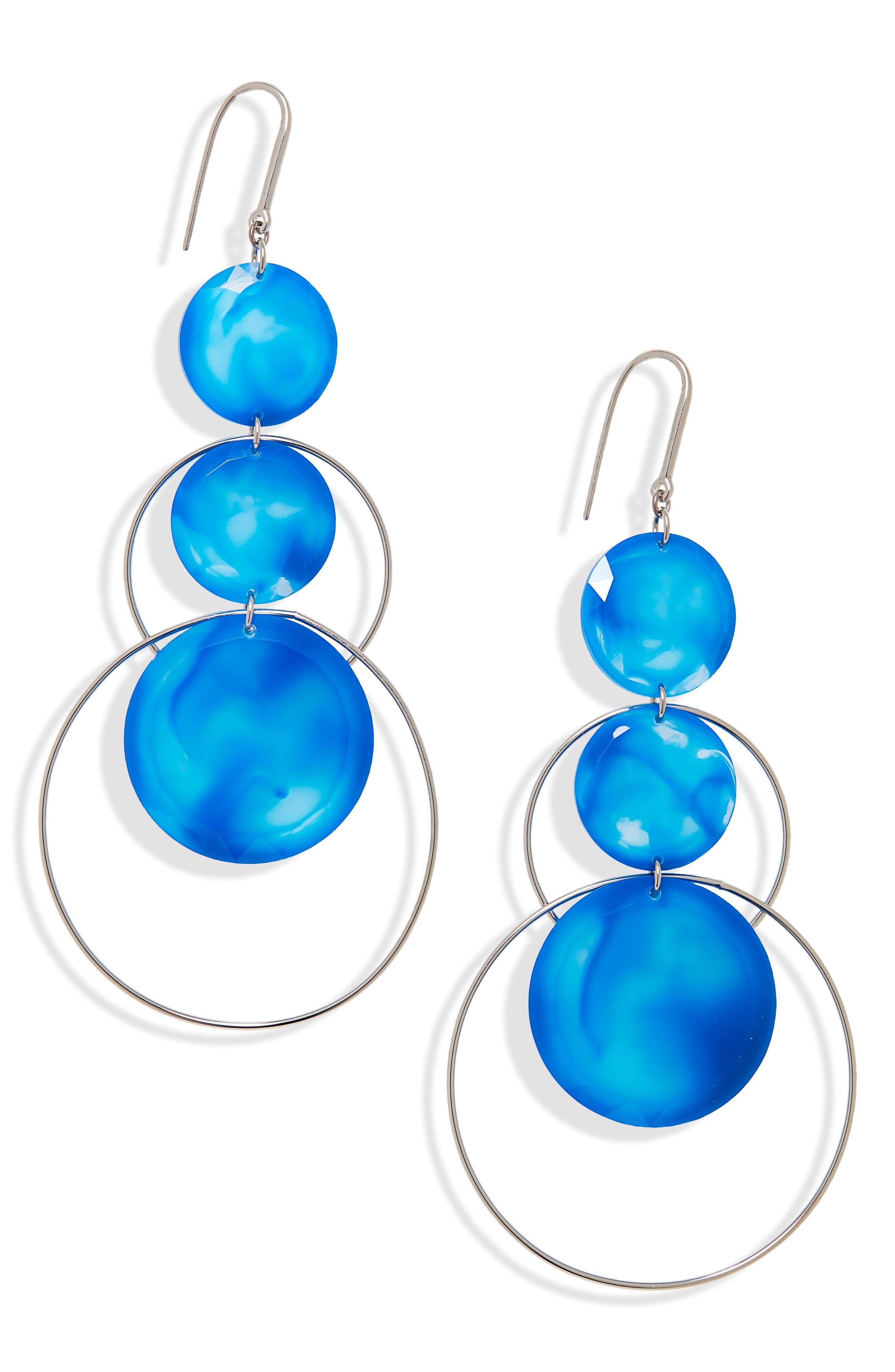 ISABEL MARANT, Harlem Circle Drop Earrings, Main thumbnail 1, color, BLUE